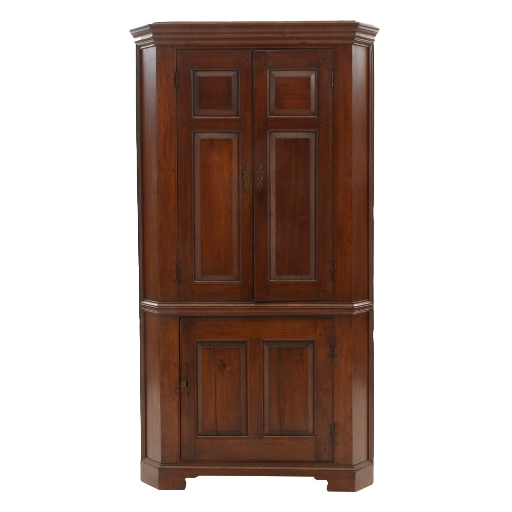 18th Century Walnut Corner Cupboard
