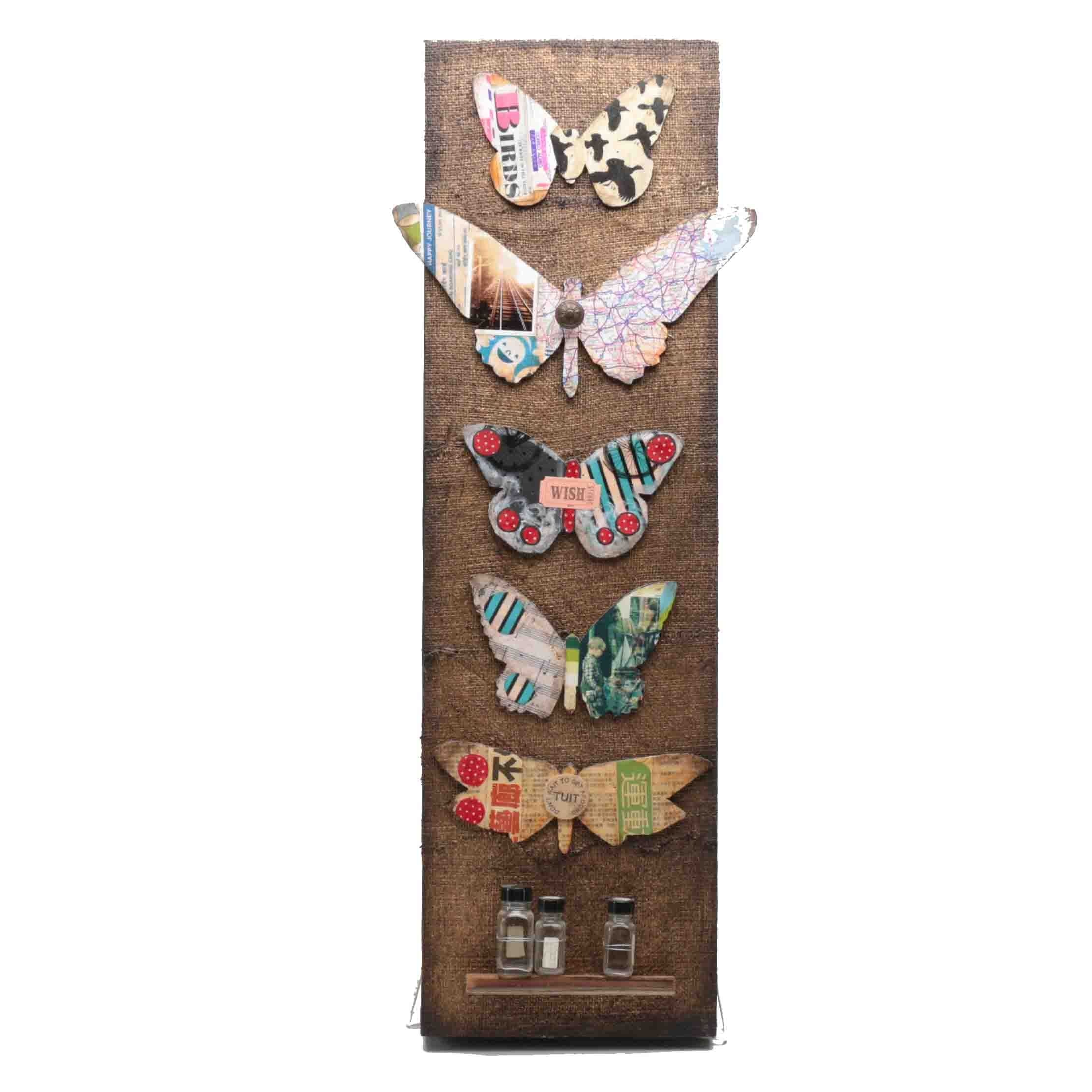 Contemporary Mixed Media Butterfly Wall Hanging