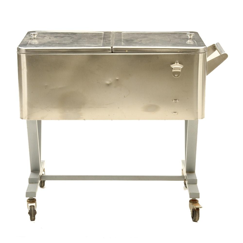 Outdoor Cooler Bar Cart with Granite