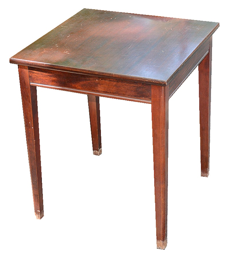 Vintage mahogany side table with rotating top ebth for Revolving end table