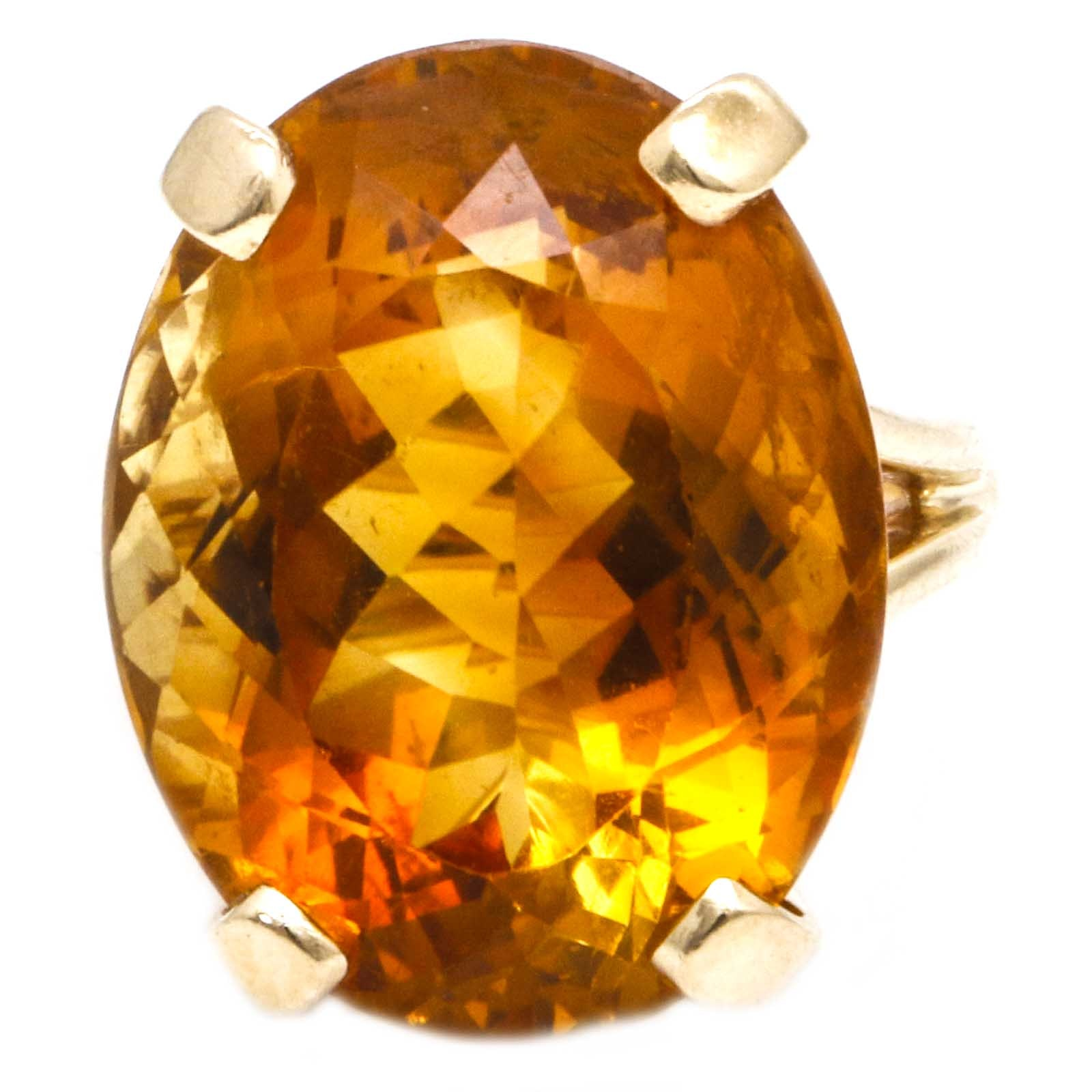 14K Yellow Gold 23.90 CTS Citrine Cocktail Ring