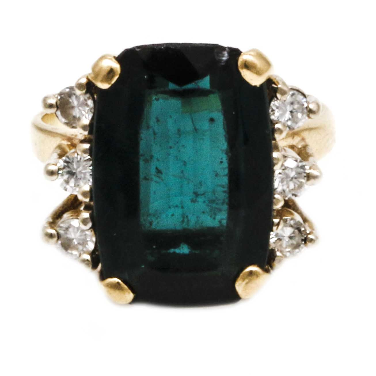 14K Yellow Gold 5.22 CTS Tourmaline Ring With Diamond Accents