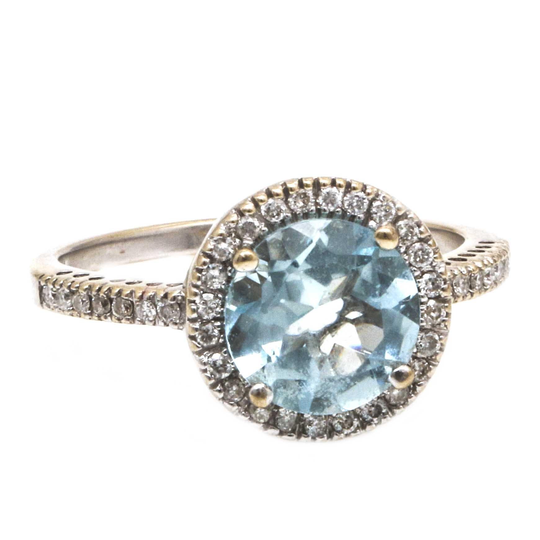 14K White Gold 1.43 CTS Aquamarine and Diamond Ring