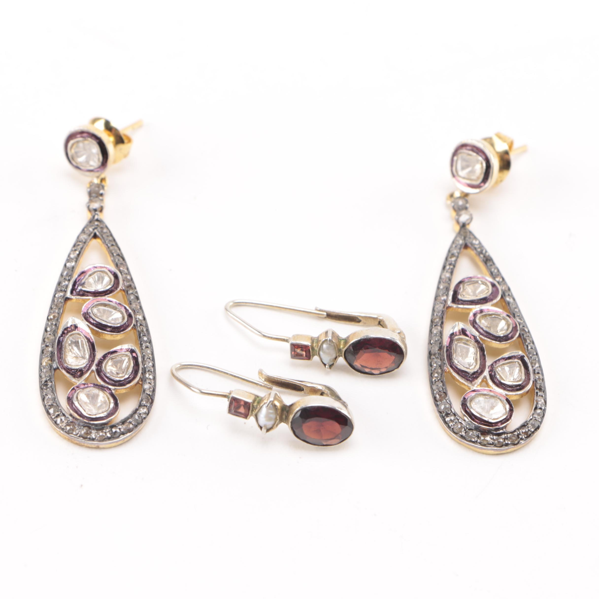 Sterling Garnet and Pearl and Costume Polki Diamond Earrings