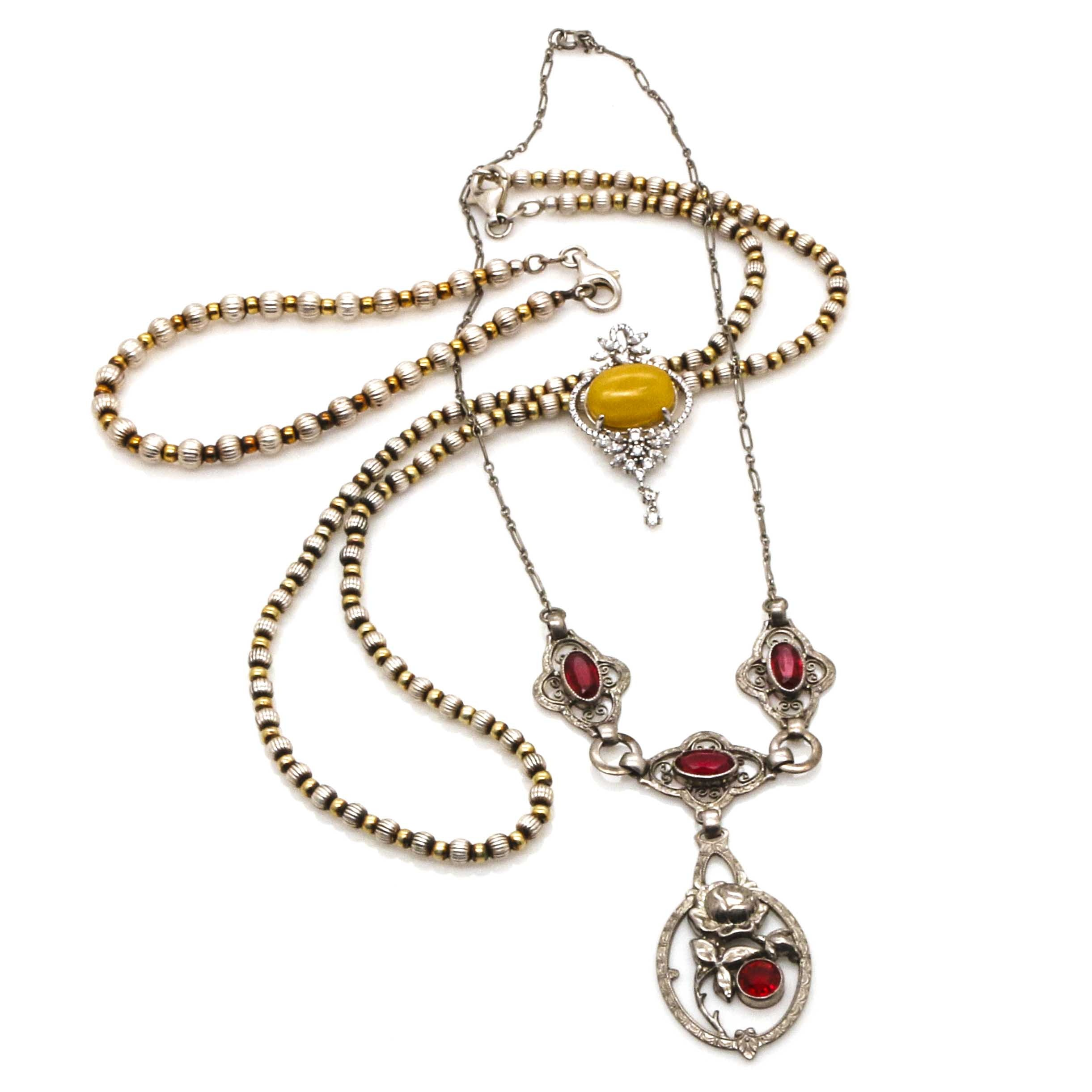 Sterling Silver Amber and Glass Jewelry