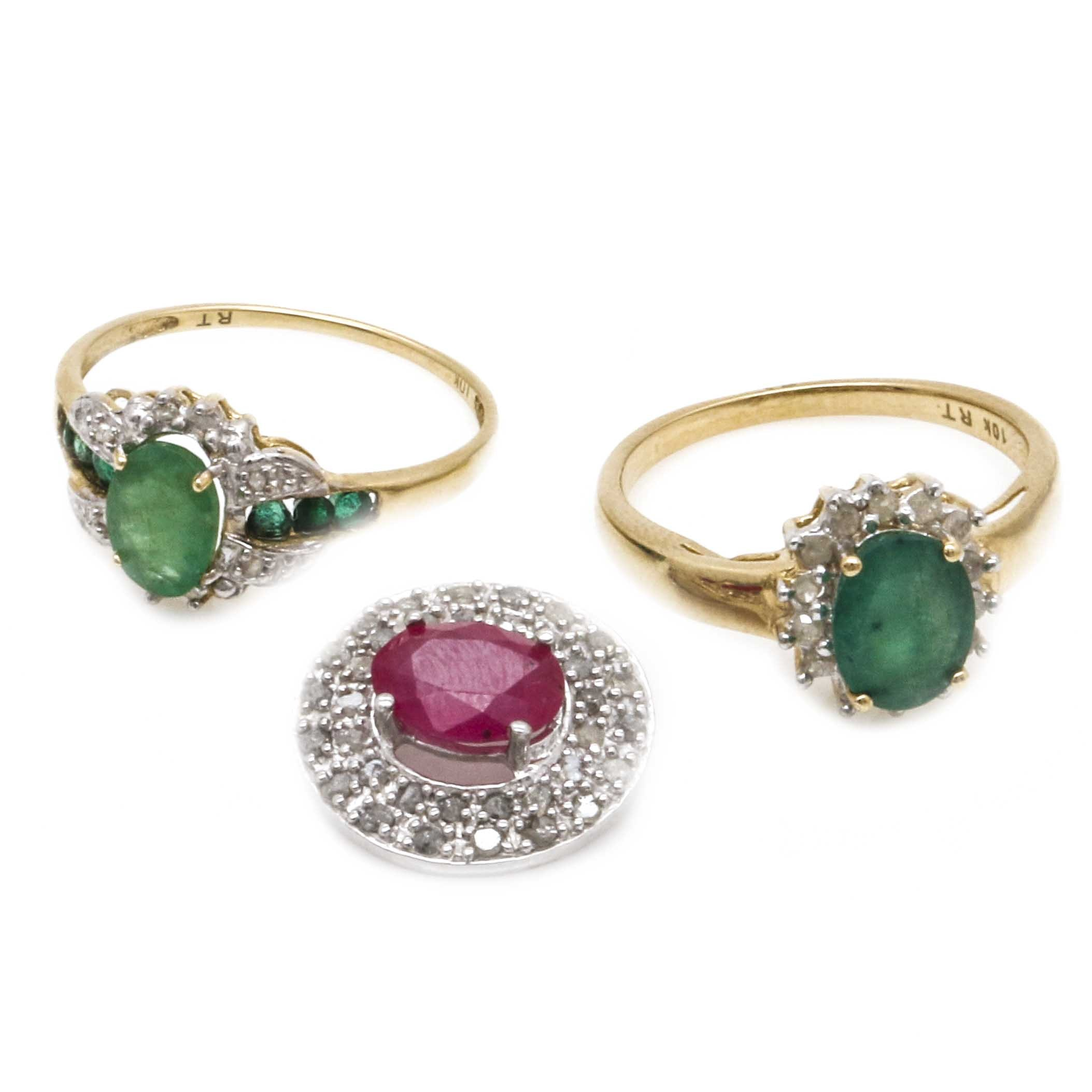 10K Gold Gemstone Pendant and Rings