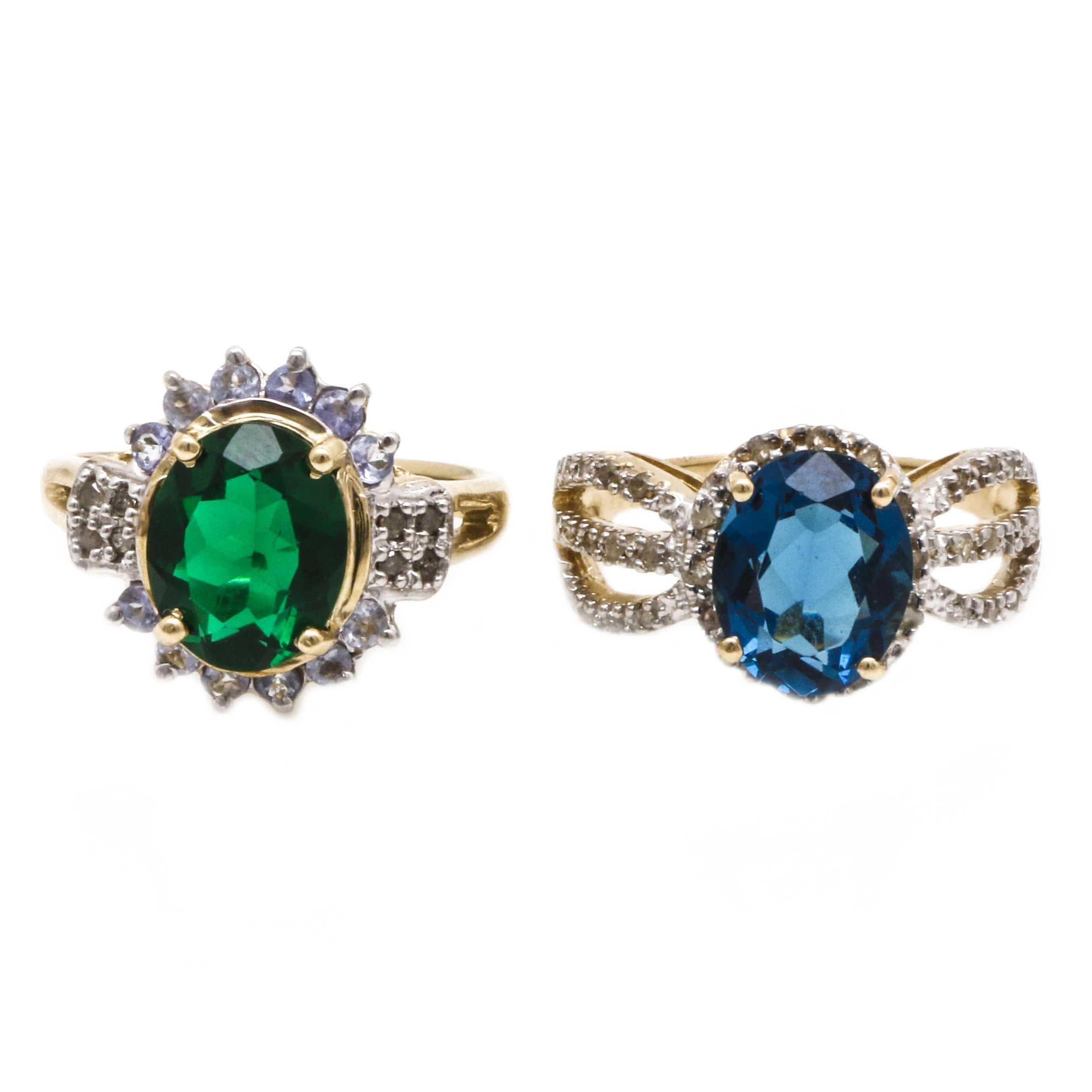 Two 10K Yellow Gold Glass, Tanzanite, and Diamond Rings