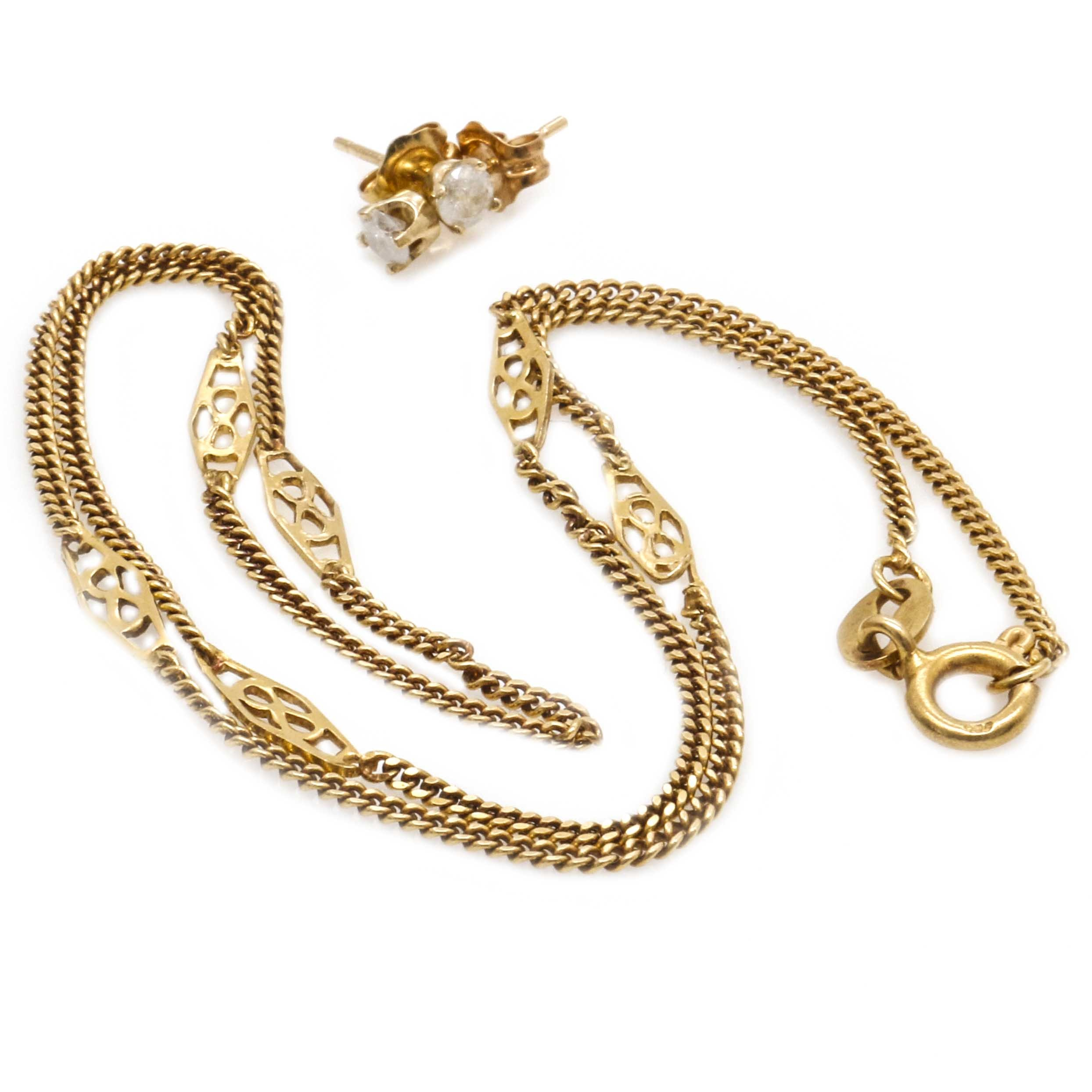 14K Yellow Gold Diamond Earrings and Infinity Necklace
