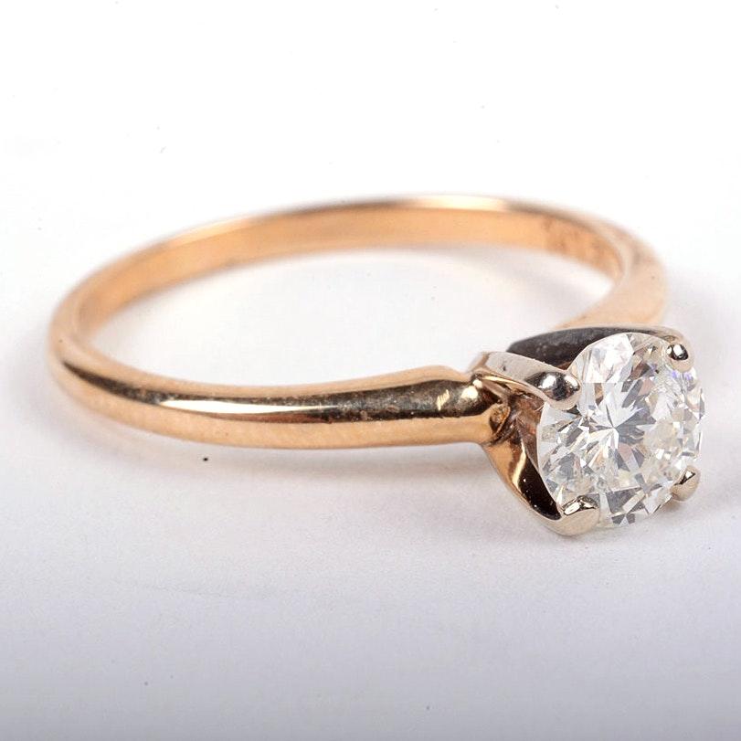 14K Yellow Gold 0.50 CT Round Diamond Solitaire Engagement Ring