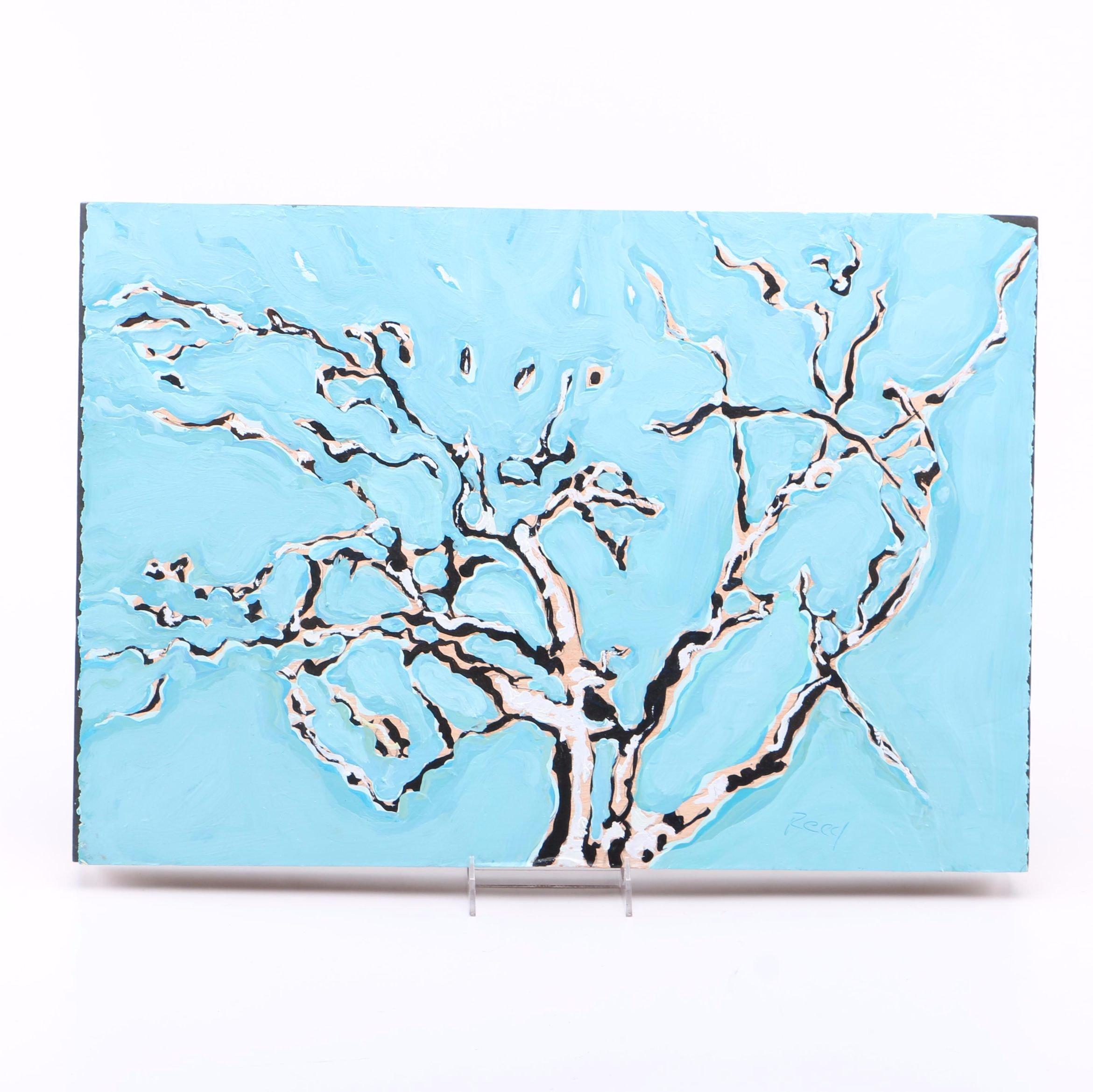Reed Oil on Wooden Board of Tree in Winter