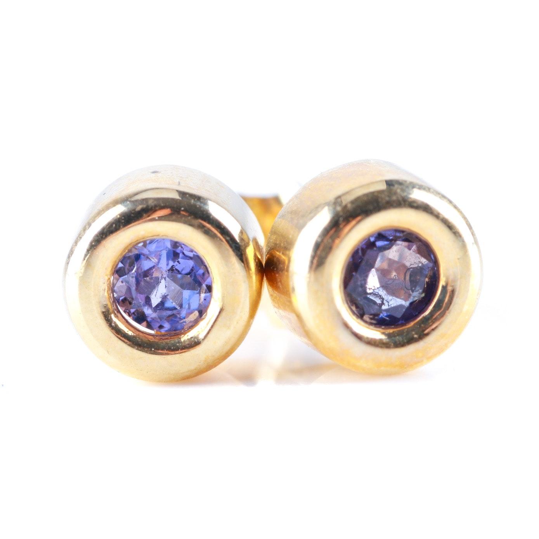 14K Yellow Gold Tanzanite Stud Earrings