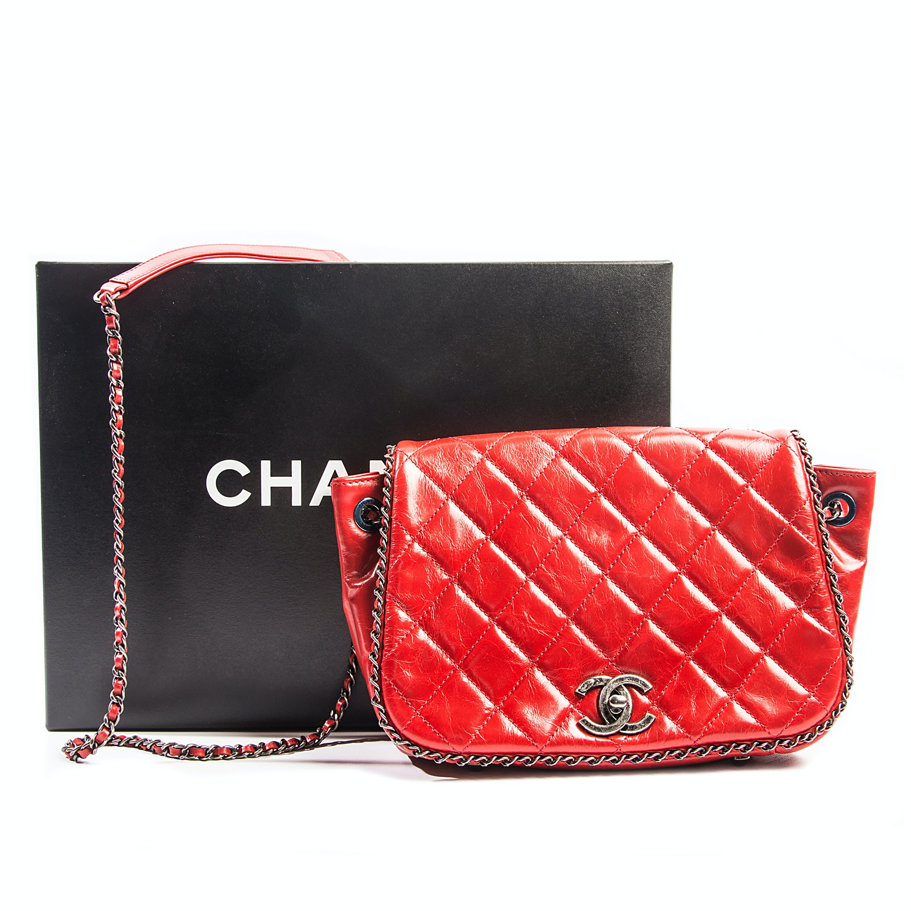 Chanel Red Quilted Accordian Crossbody Bag