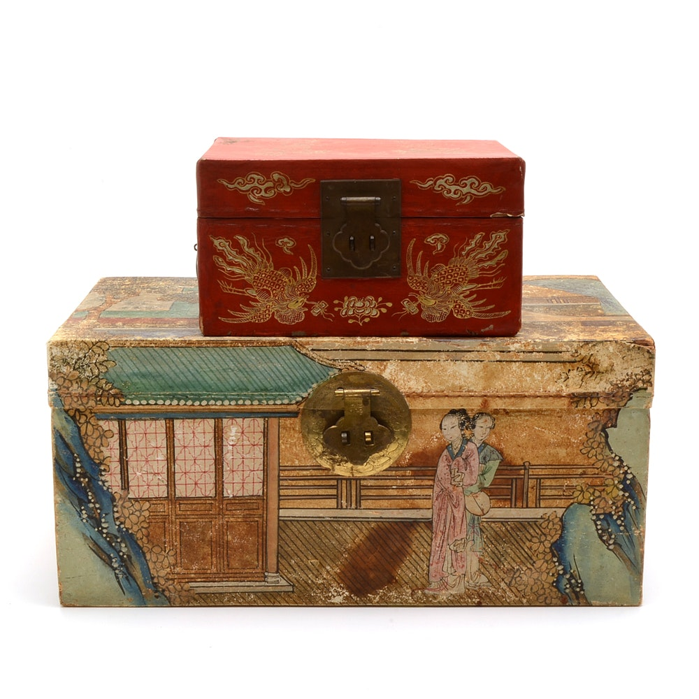 Vintage Chinese Hand-Painted Boxes