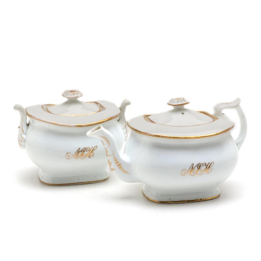 Mid 19th-Century Porcelain Teapot