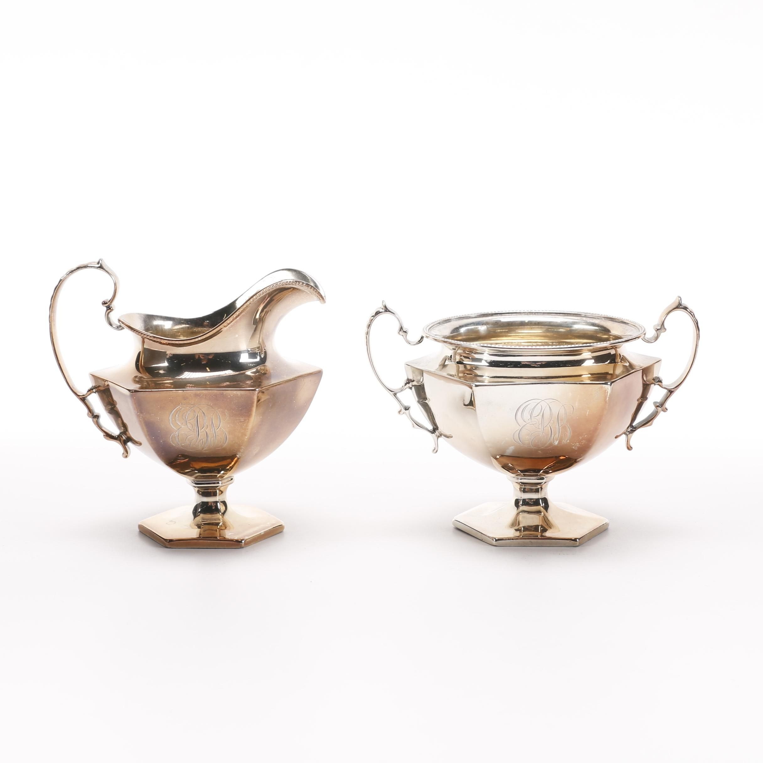 Roger Williams Silver Co. Sterling Silver Creamer and Bowl