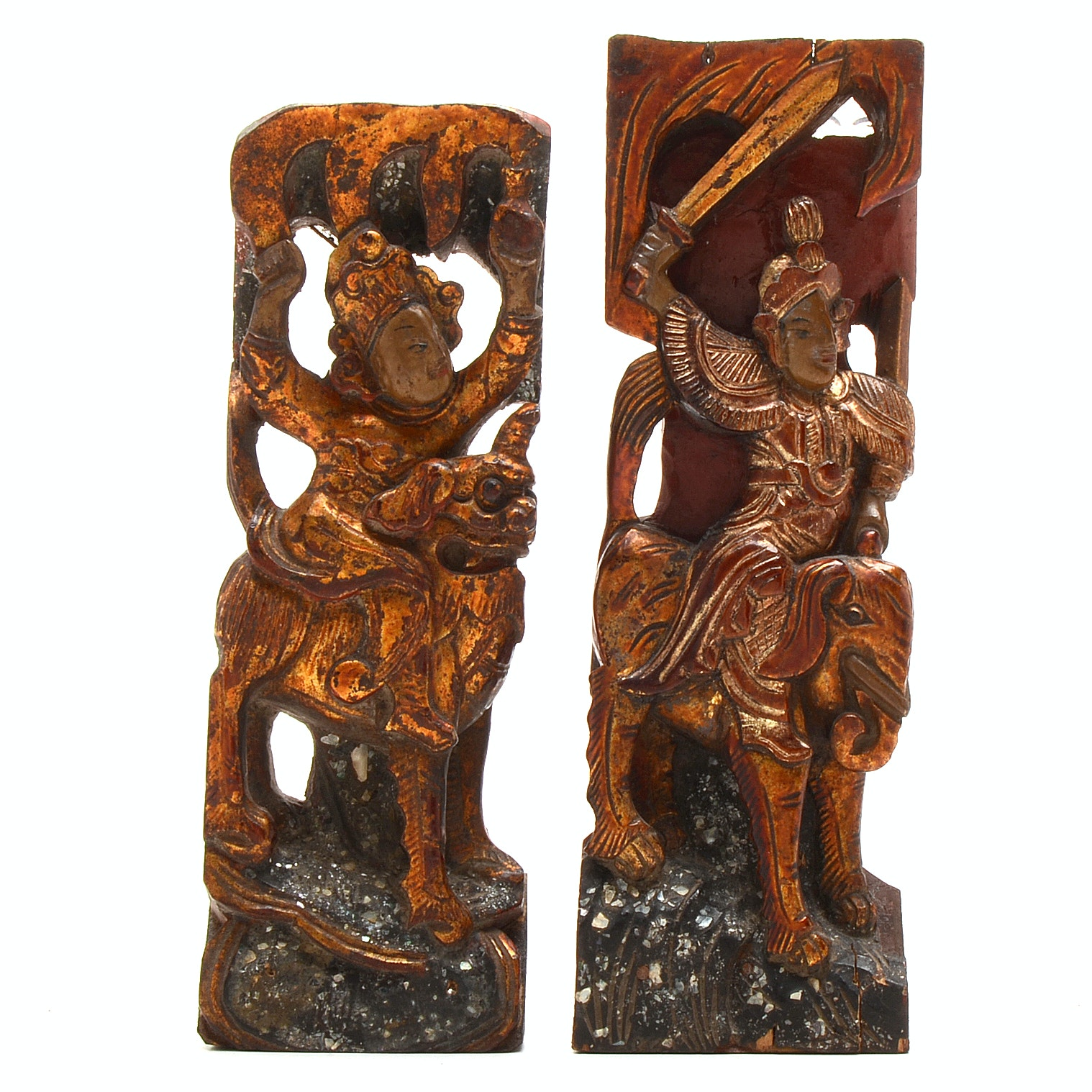 Pairing of Antique Chinese Wood Carvings of Warriors with Beasts