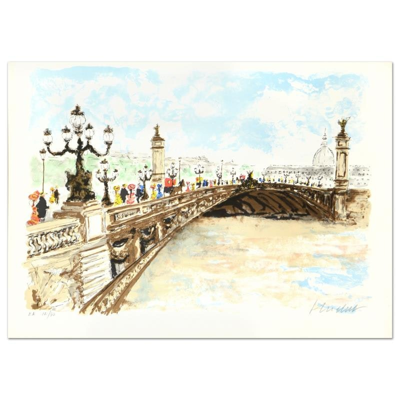 "Urbain Huchet Signed Limited Edition Lithograph ""Bridge"""