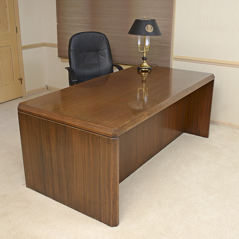 Executive Desk, Chair, and Lamp