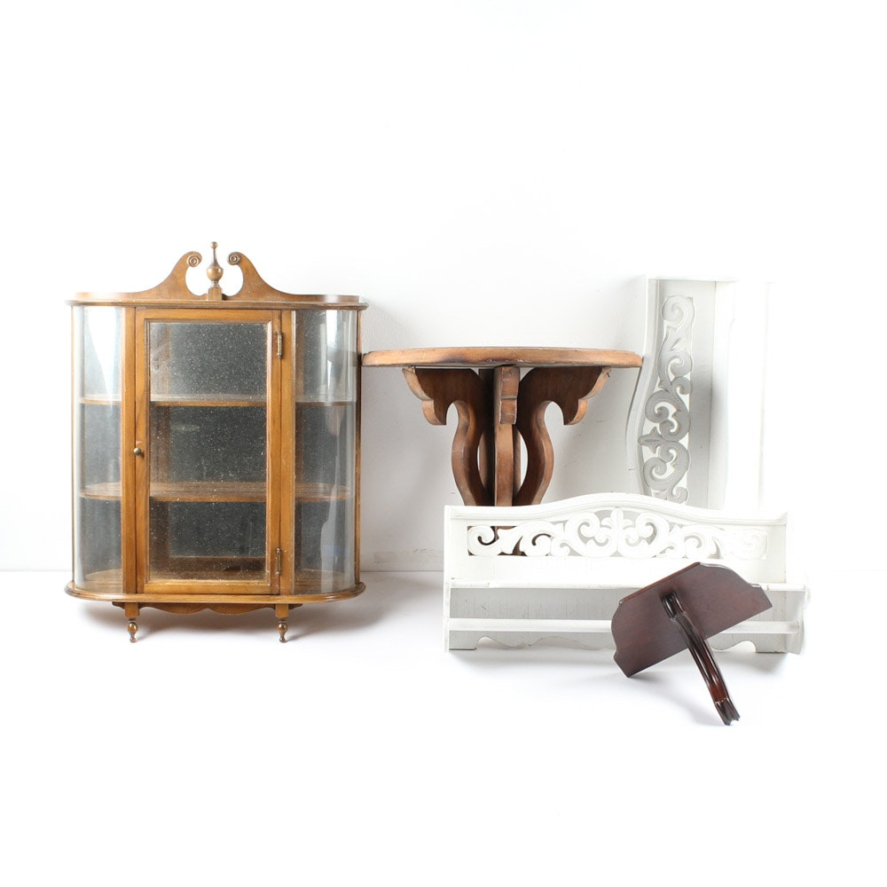 Vintage Display Cabinet and Wall Shelving