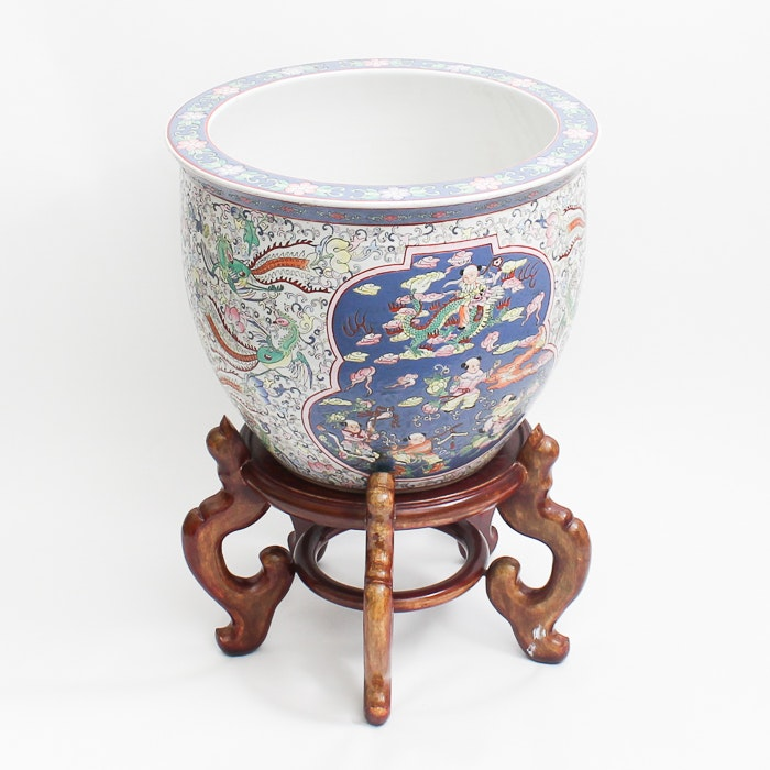 Large Chinese Urn with Wooden Stand