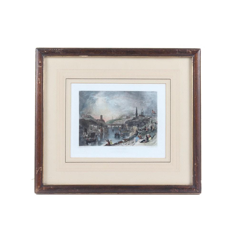 "Joseph Mallord William Turner Engraving ""Newcastle on the Tyne"""