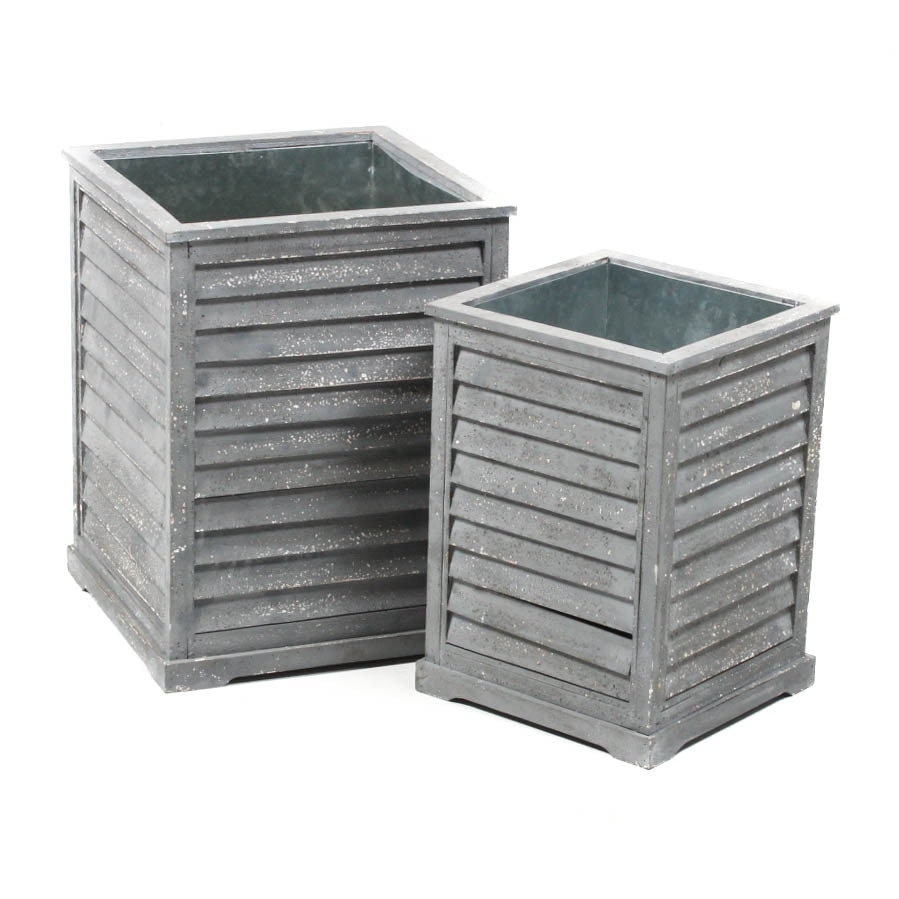 Pair of Painted Wooden Louvered Planters