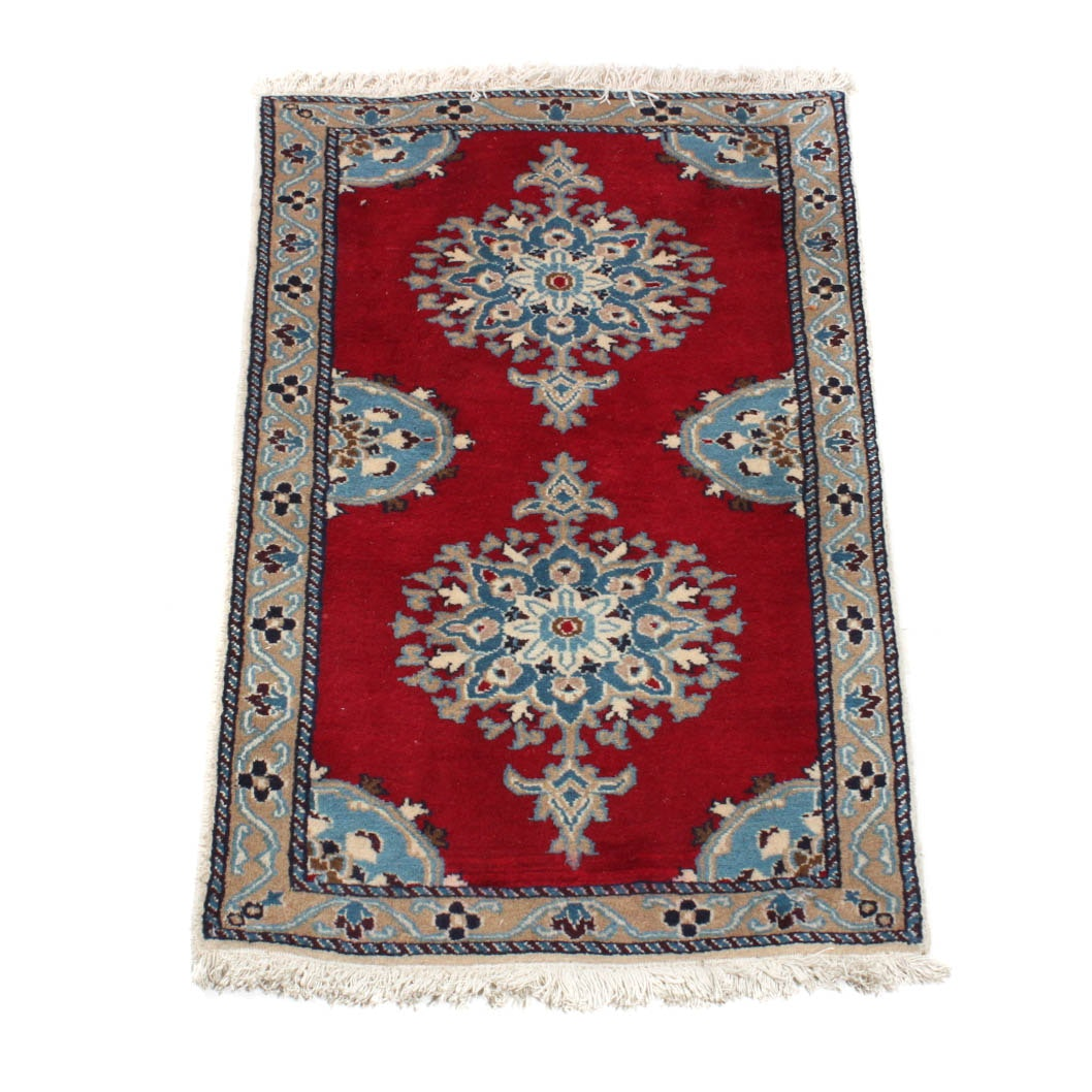 Hand-Knotted Fine Persian Nain Accent Rug