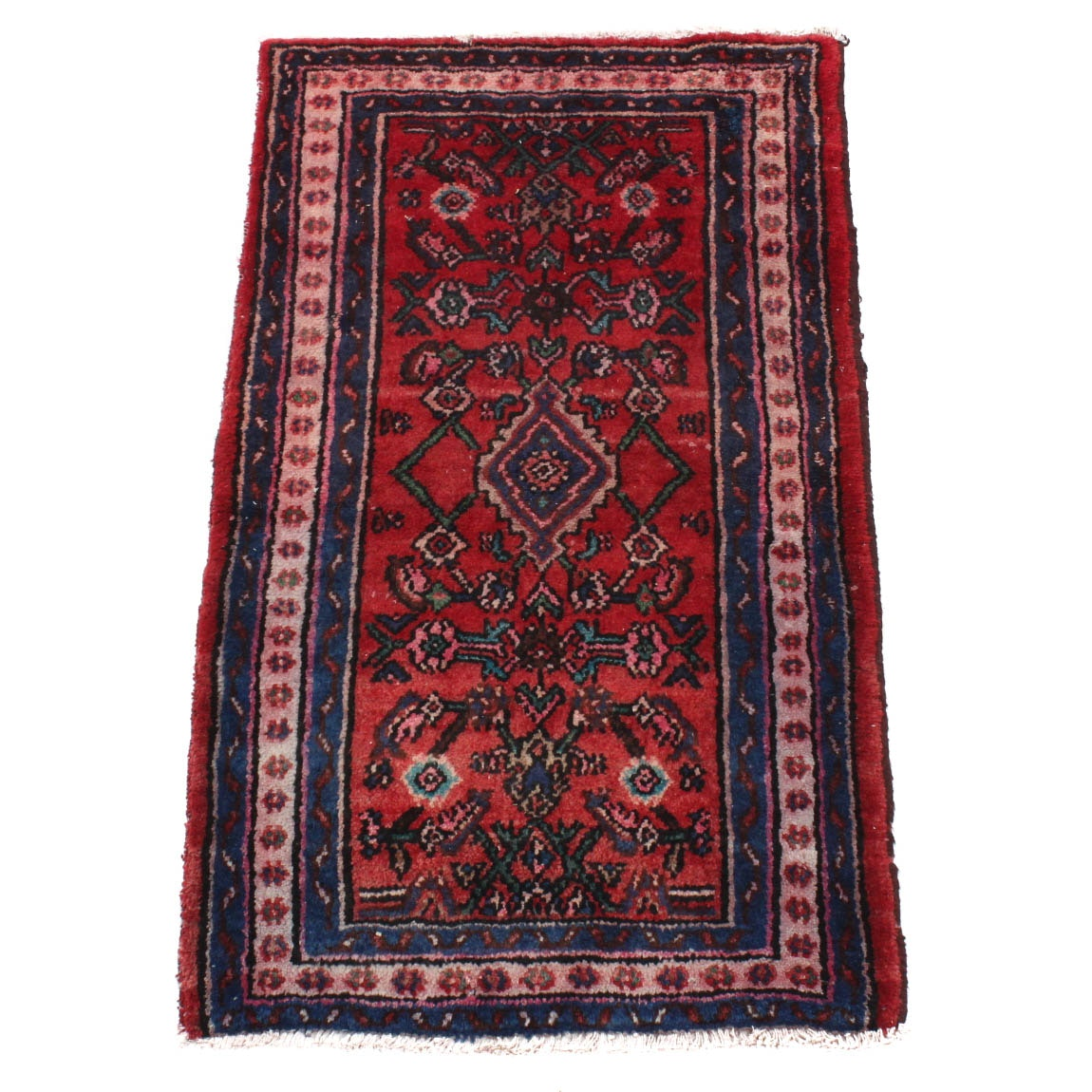 Hand-Knotted Antique Persian Hamadan Accent Rug