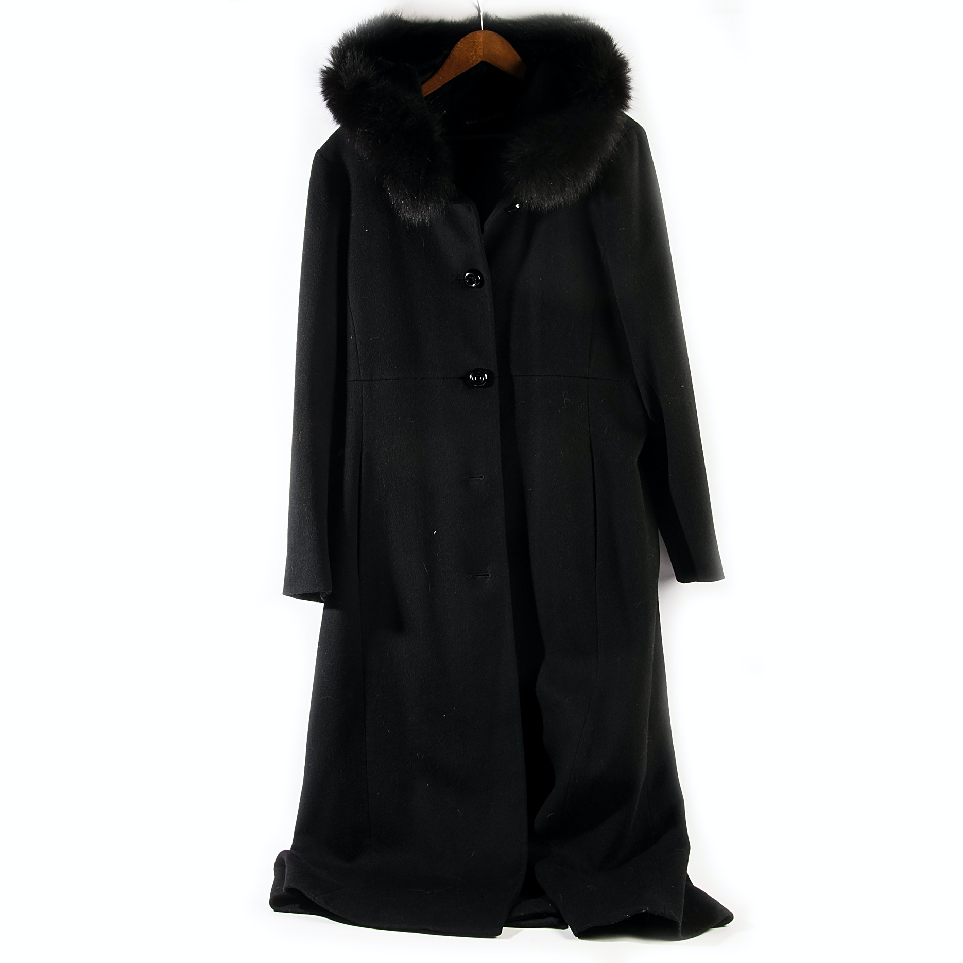 Dale Dressin Floor Length Wool Coat with Dyed Blue Fox Fur Hood