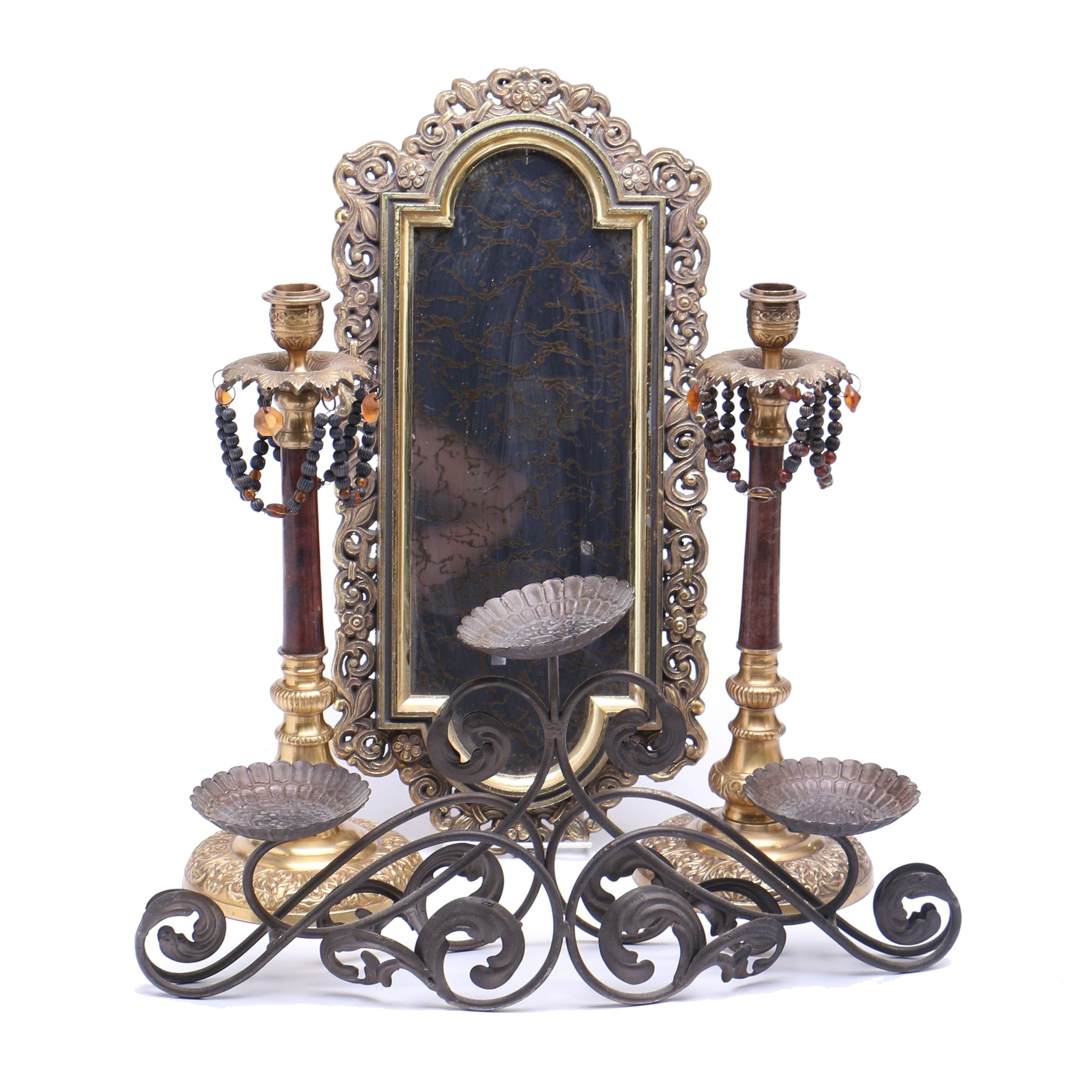 Ornate Brass Décor and Wrought Iron Candle Stand
