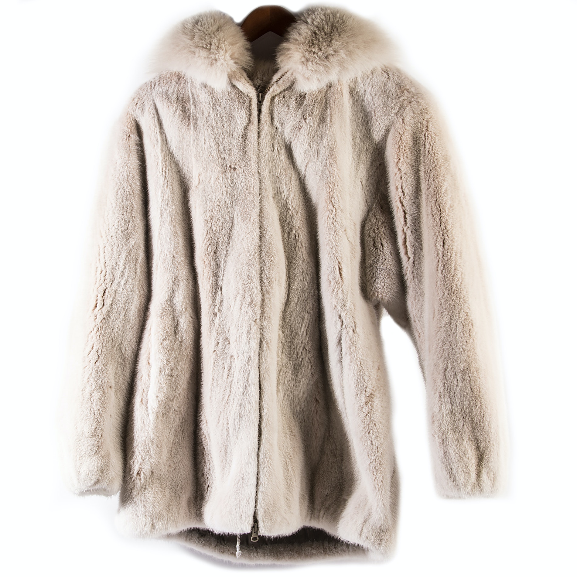 Off-White Mink Fur Hooded Coat with Fox Fur Trim