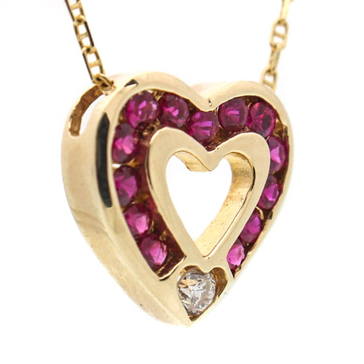 14K Yellow Gold Diamond Natural Ruby Heart Pendant Necklace