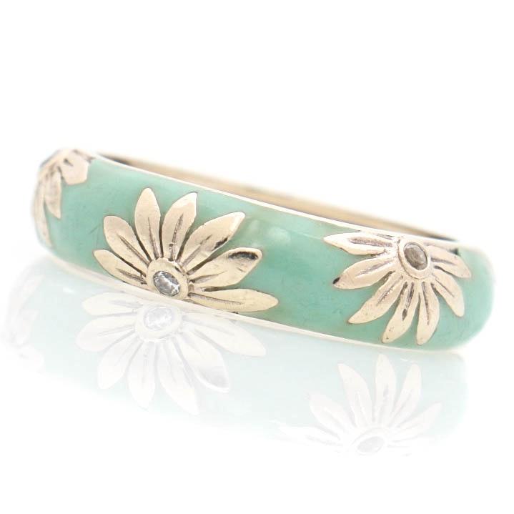18K White Gold Diamond Enamel Floral Ring