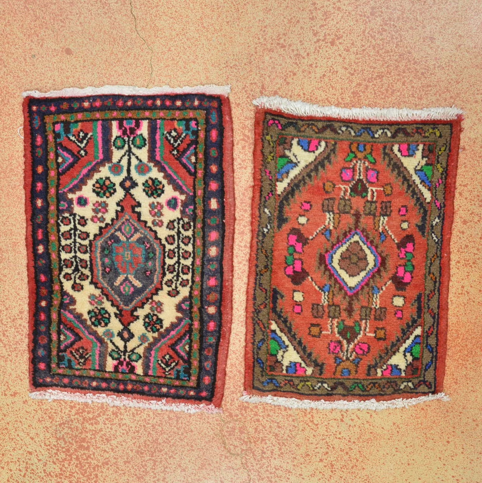 Hand Knotted Iranian Hamadan Accent Rugs