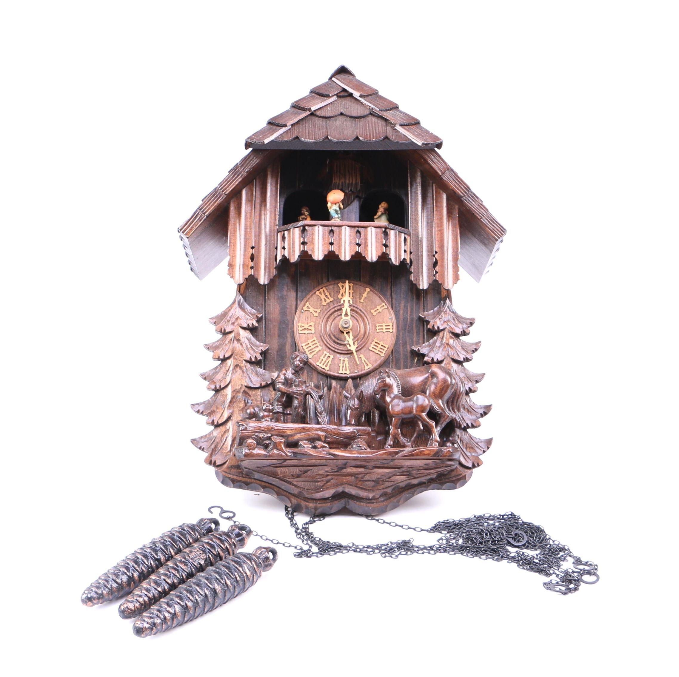 Carved Wooden German Cuckoo Clock