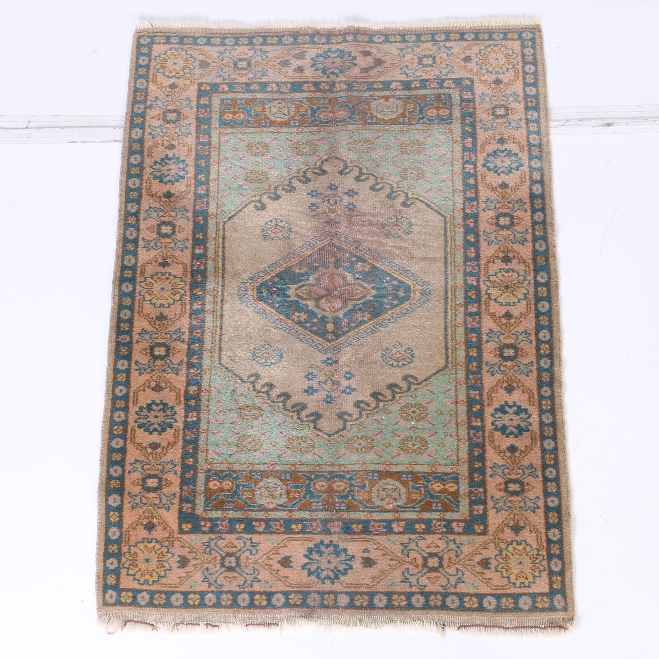 Vintage Hand-Knotted Persian Inspired Accent Rug