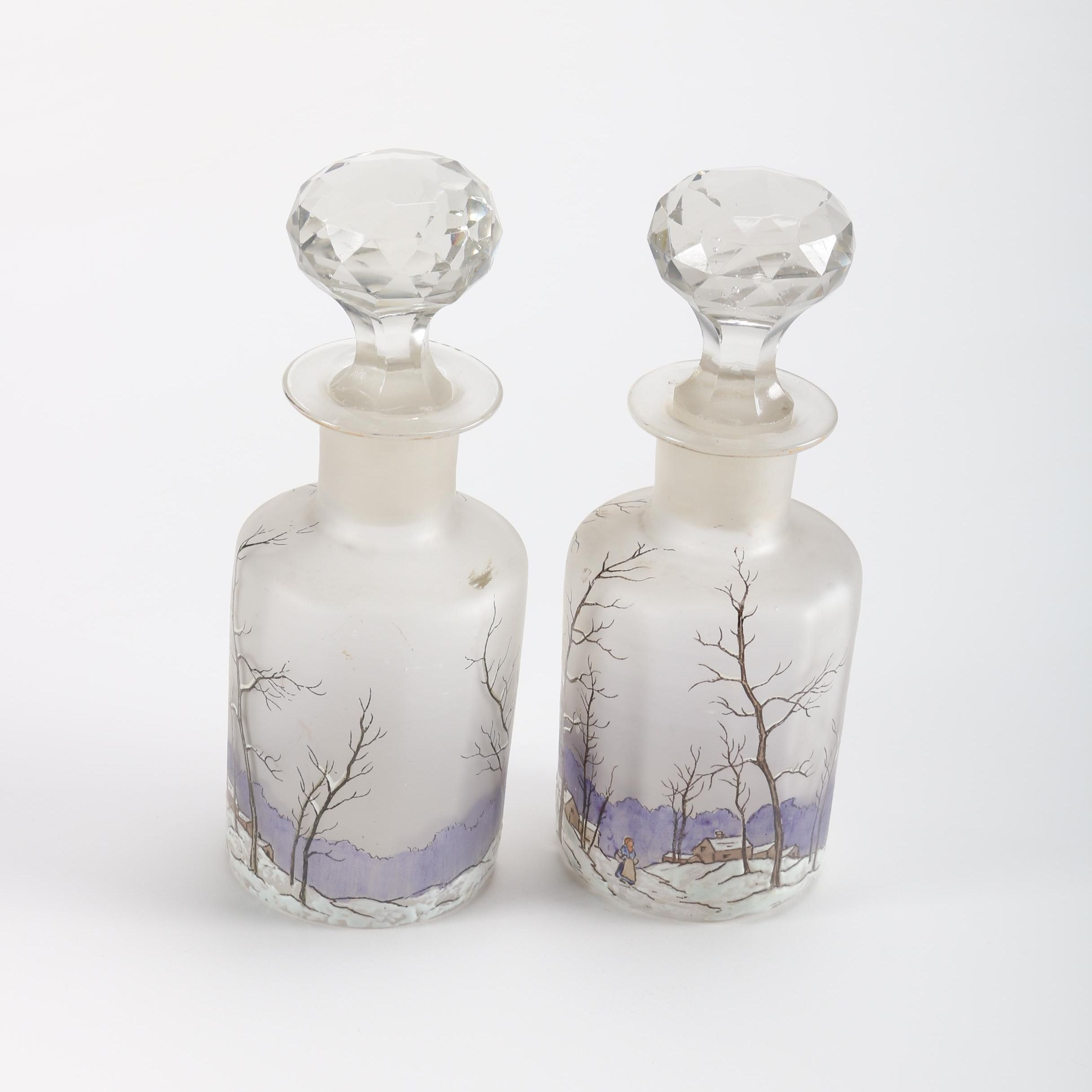 Hand-Painted Etched Crystal Cruets