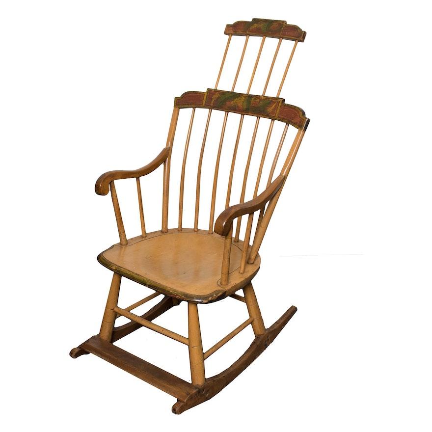 Vintage Painted Comb Back Windsor Rocking Chair ... - Vintage Painted Comb Back Windsor Rocking Chair : EBTH