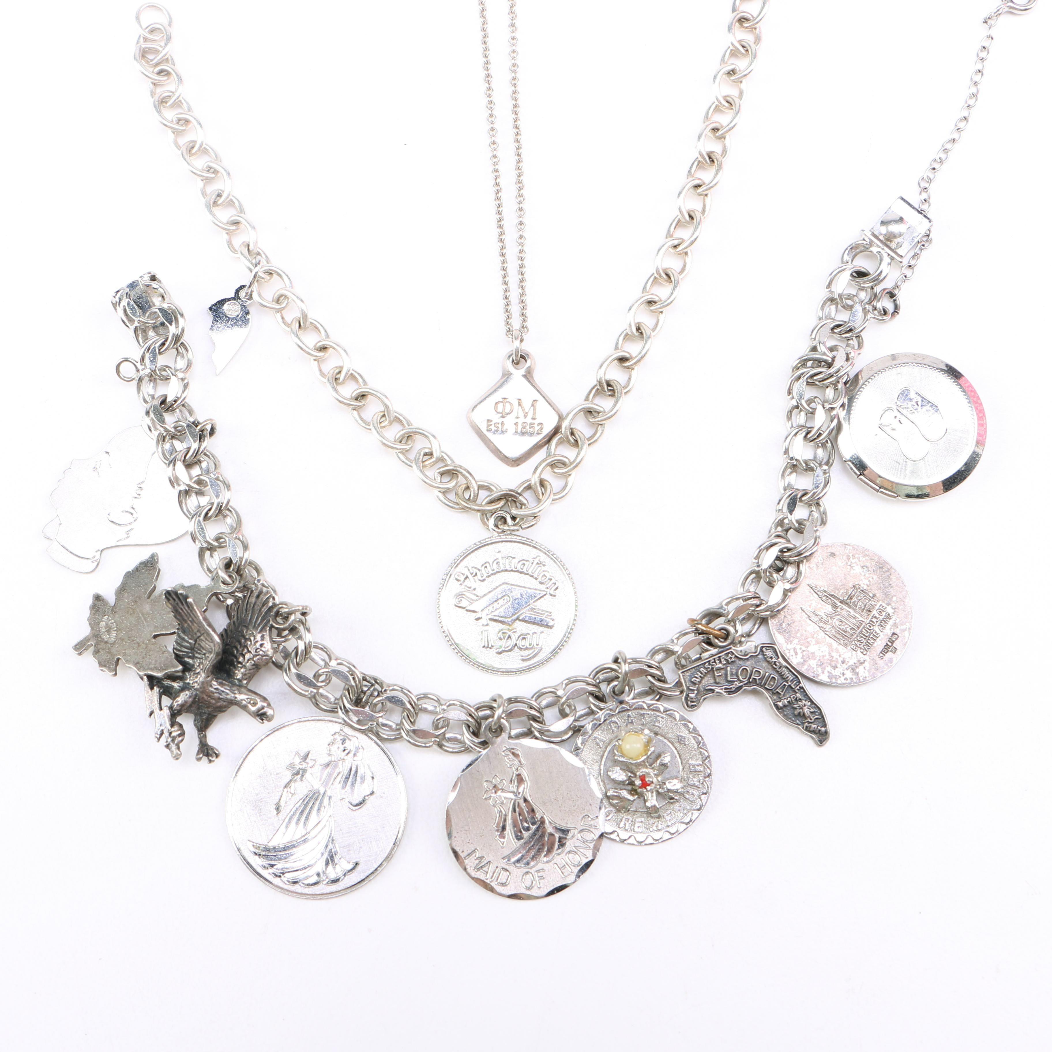 Sterling Silver Charm Bracelets and Necklace