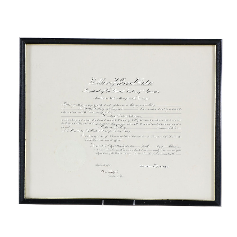 Fascimile Bill Clinton Certificate of Appointment to the CIA