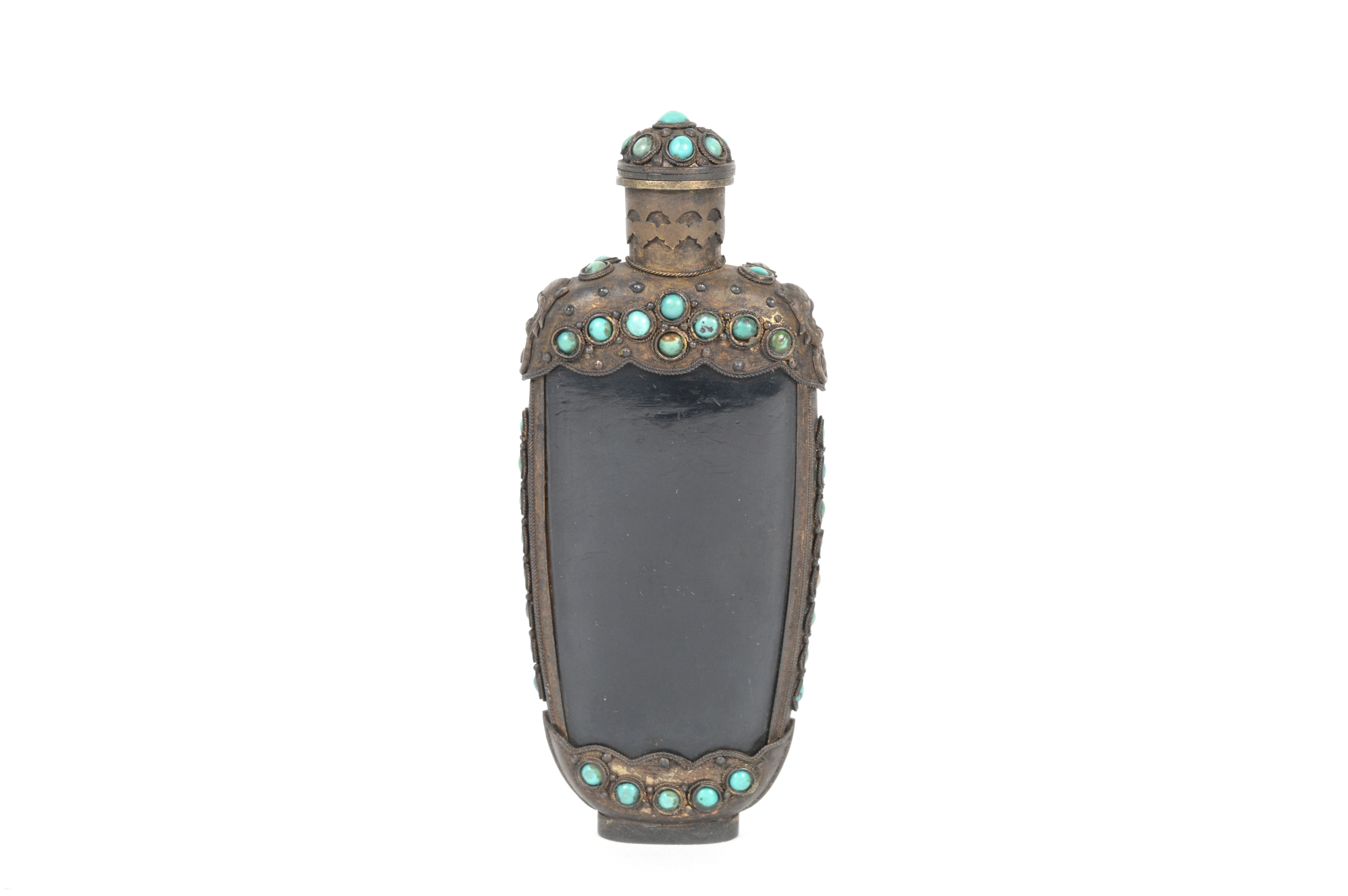 Antique Brass and Bone Snuff Bottle With Turquoise Accents