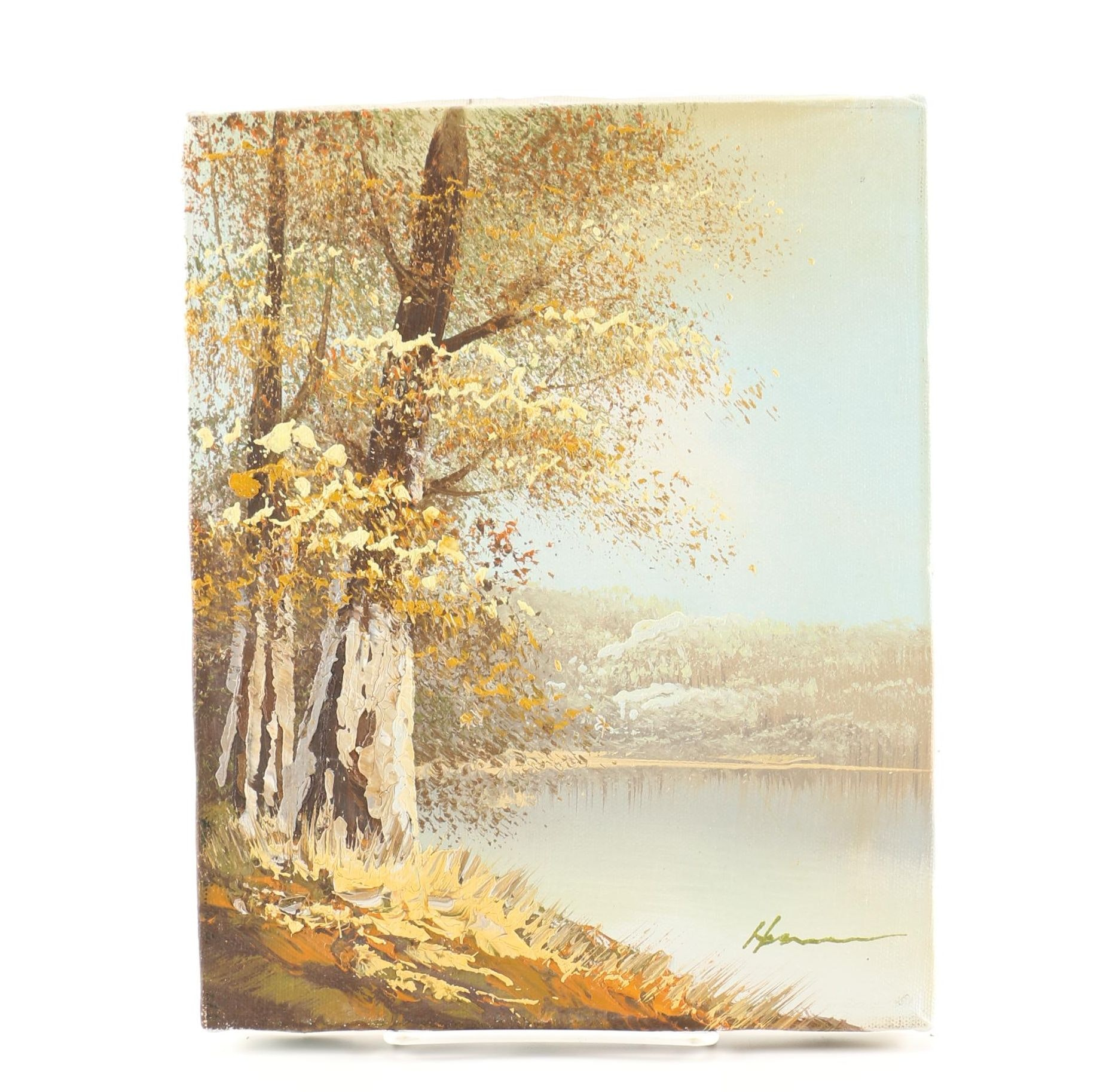 Oil Painting on Stretched Canvas of an Autumnal Landscape