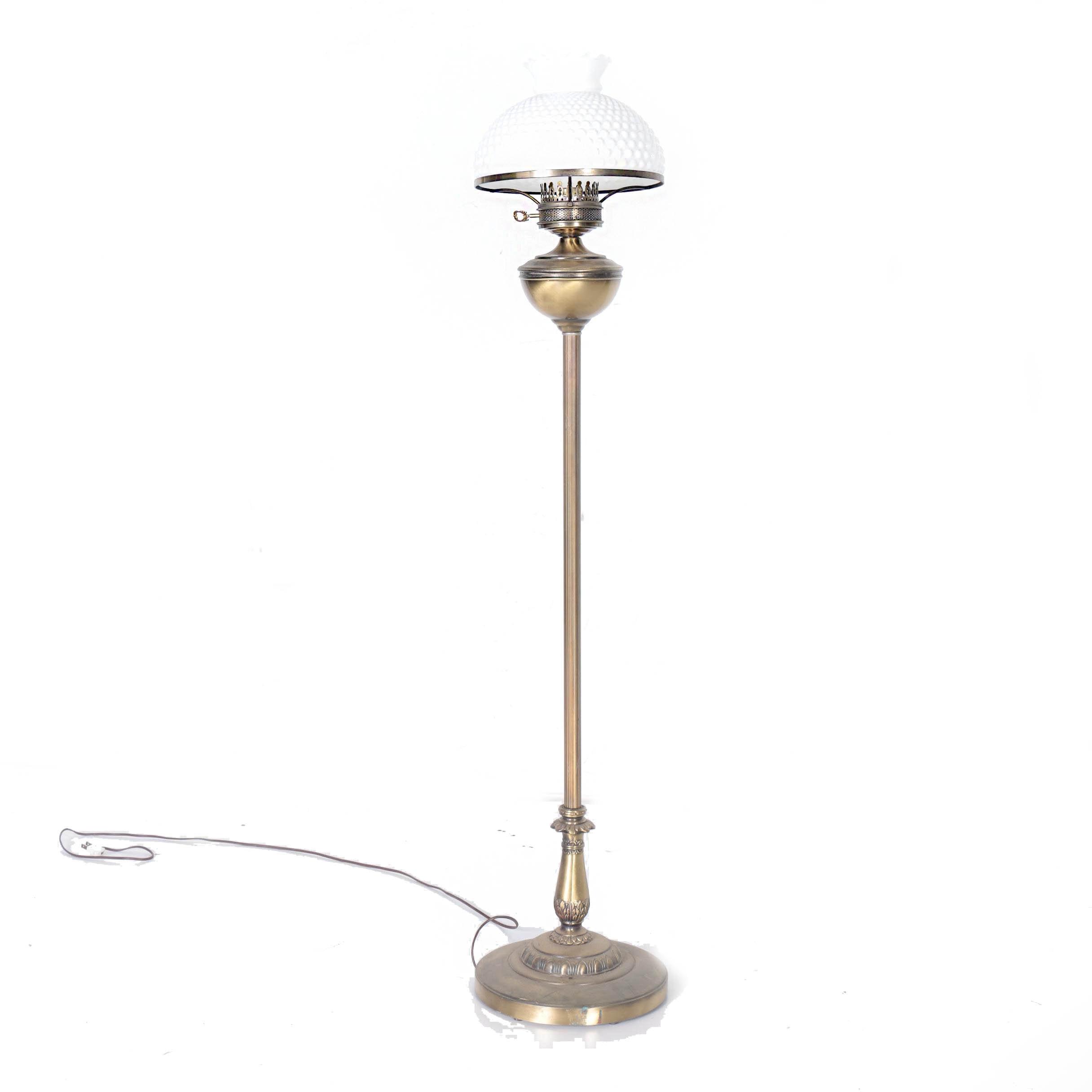 Mid Century Brass Floor Lamp With Milk Glass Shade