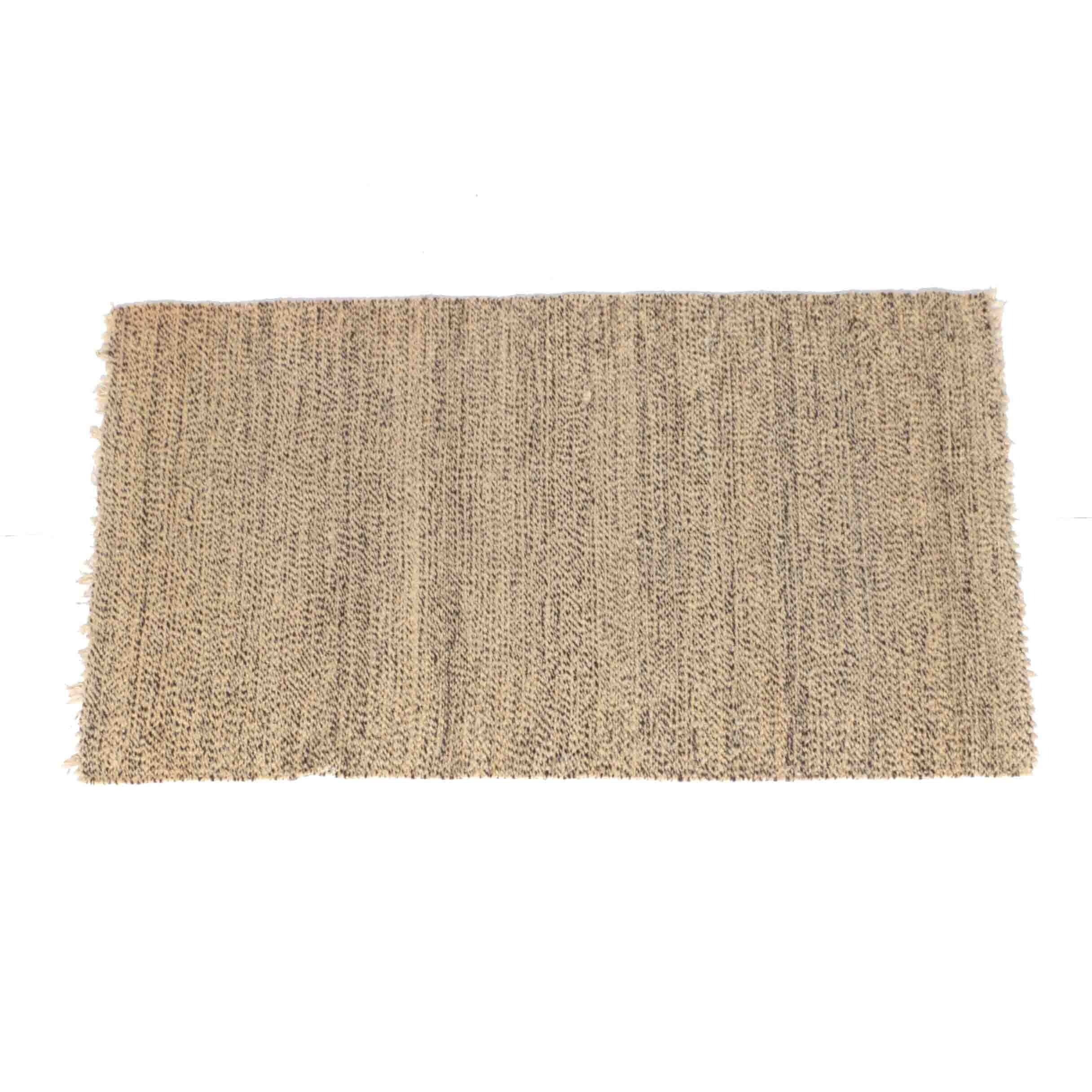 Handwoven Tan and Brown Speckled Wool Area Rug