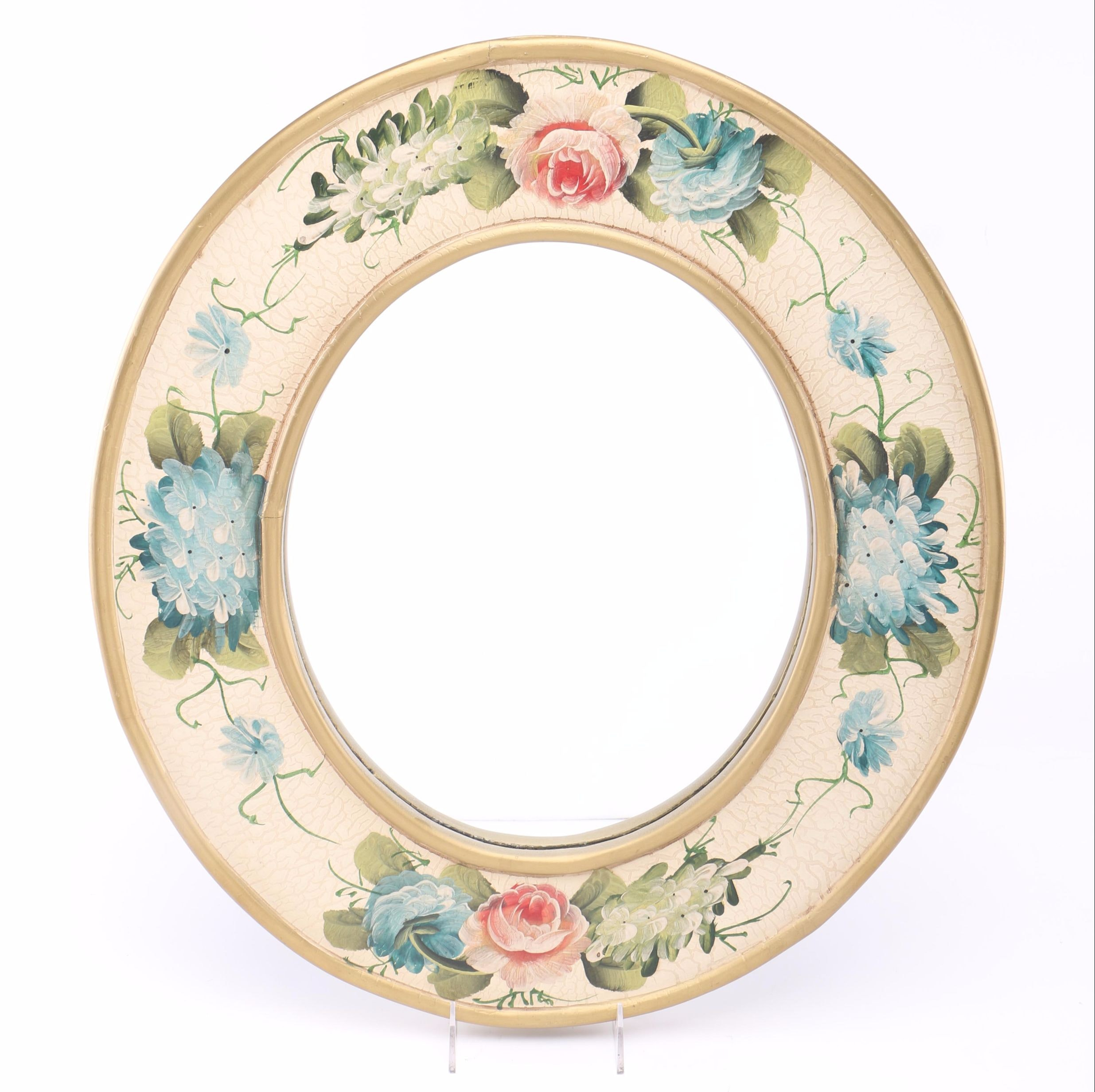 Hand Painted Floral Wall Mirror