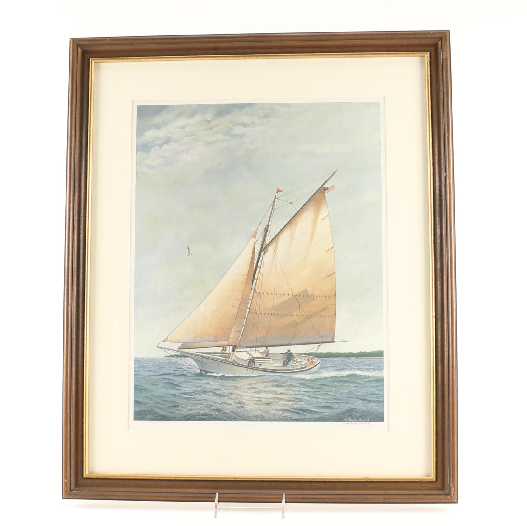 Wellington Ward Jr. Limited Edition Offset Lithograph Of Sailboat