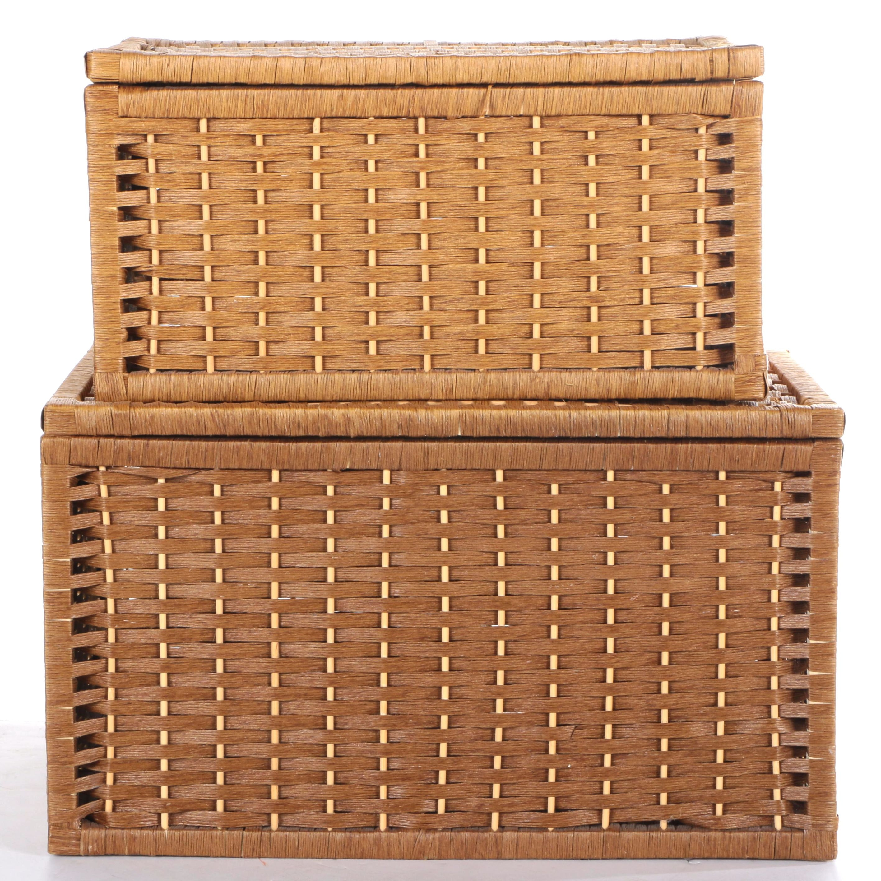 Two Woven Storage Baskets