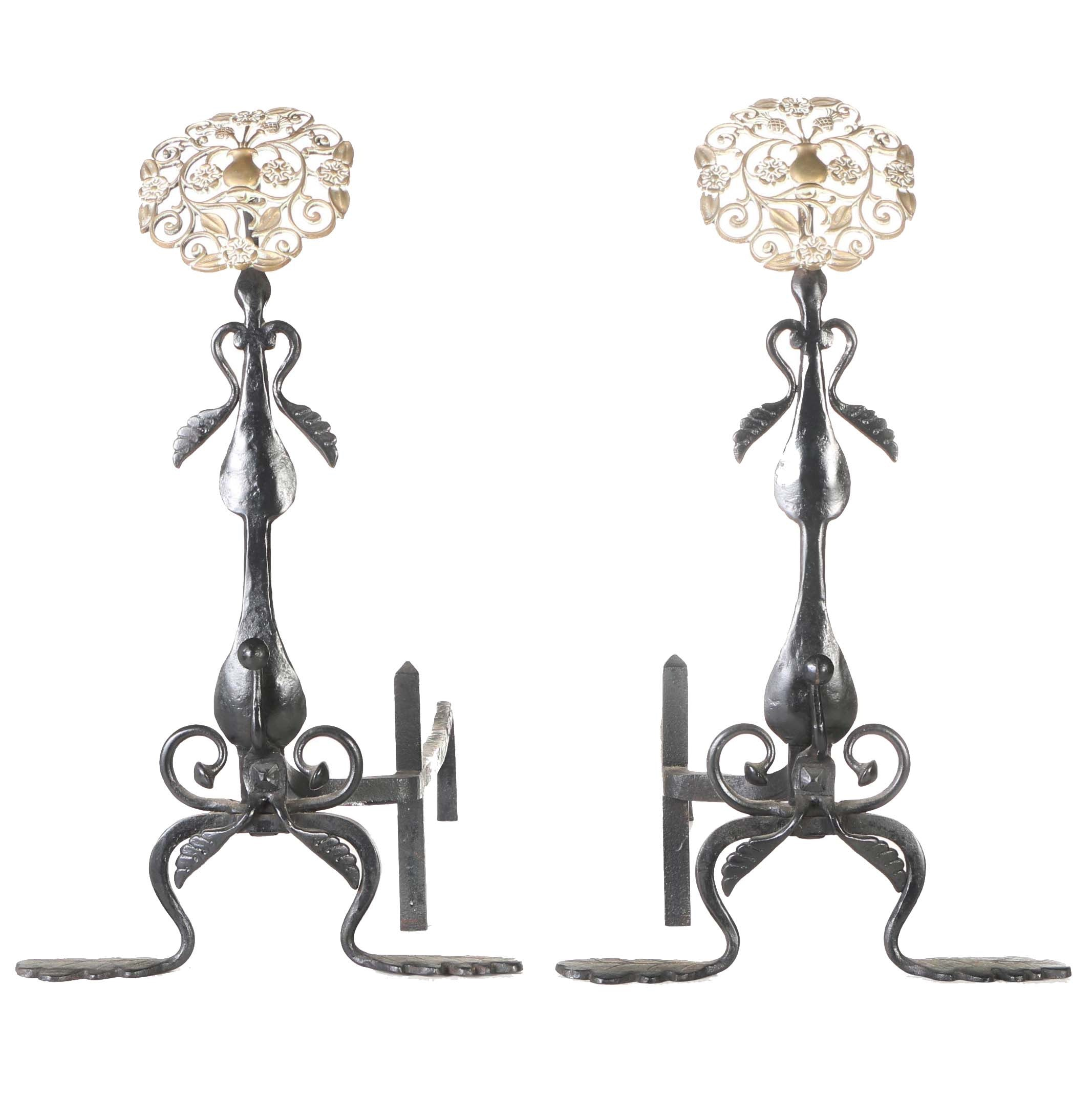 Vintage Cast Iron and Brass Andirons