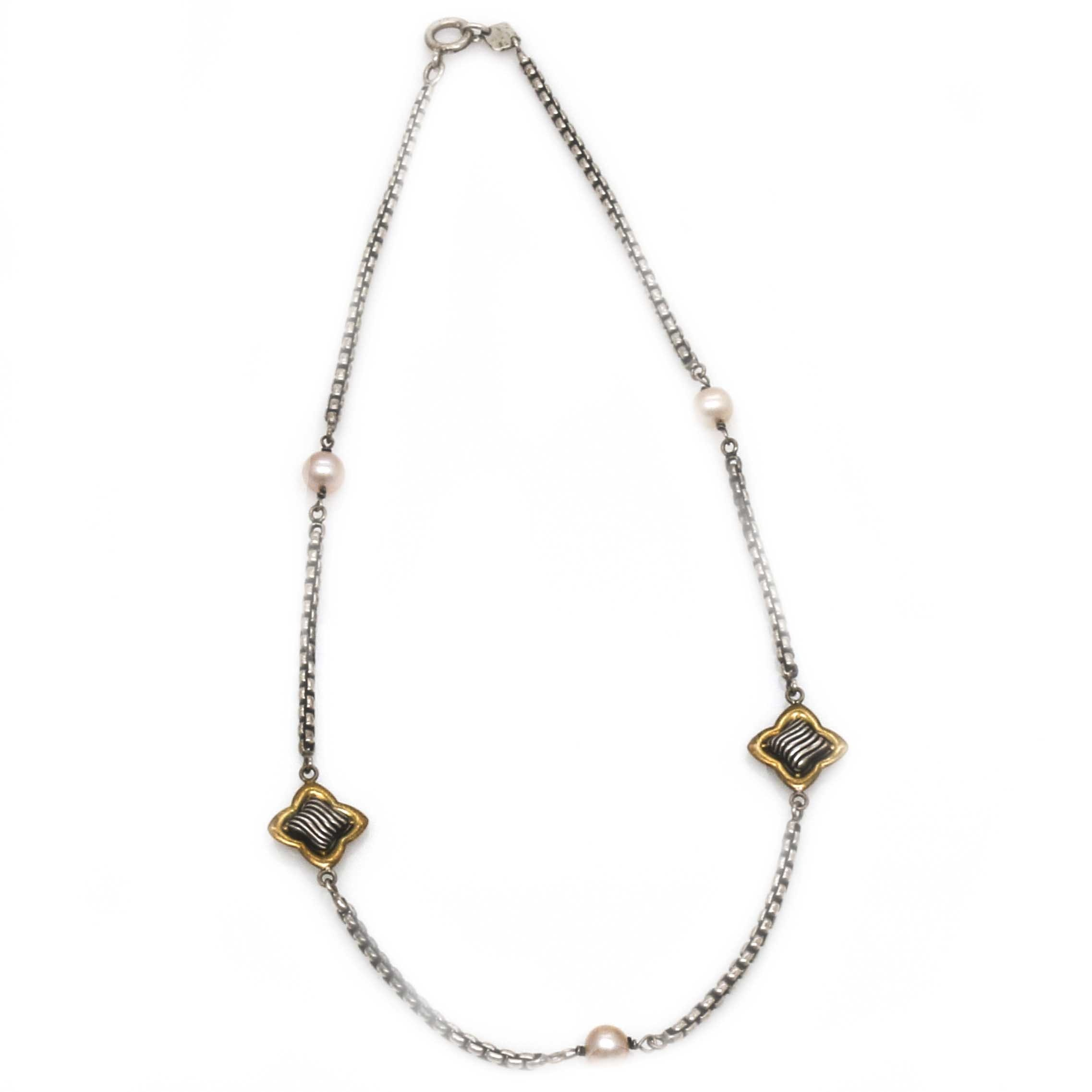 Sterling Silver and 18K Yellow Gold Cultured Pearl Station Necklace
