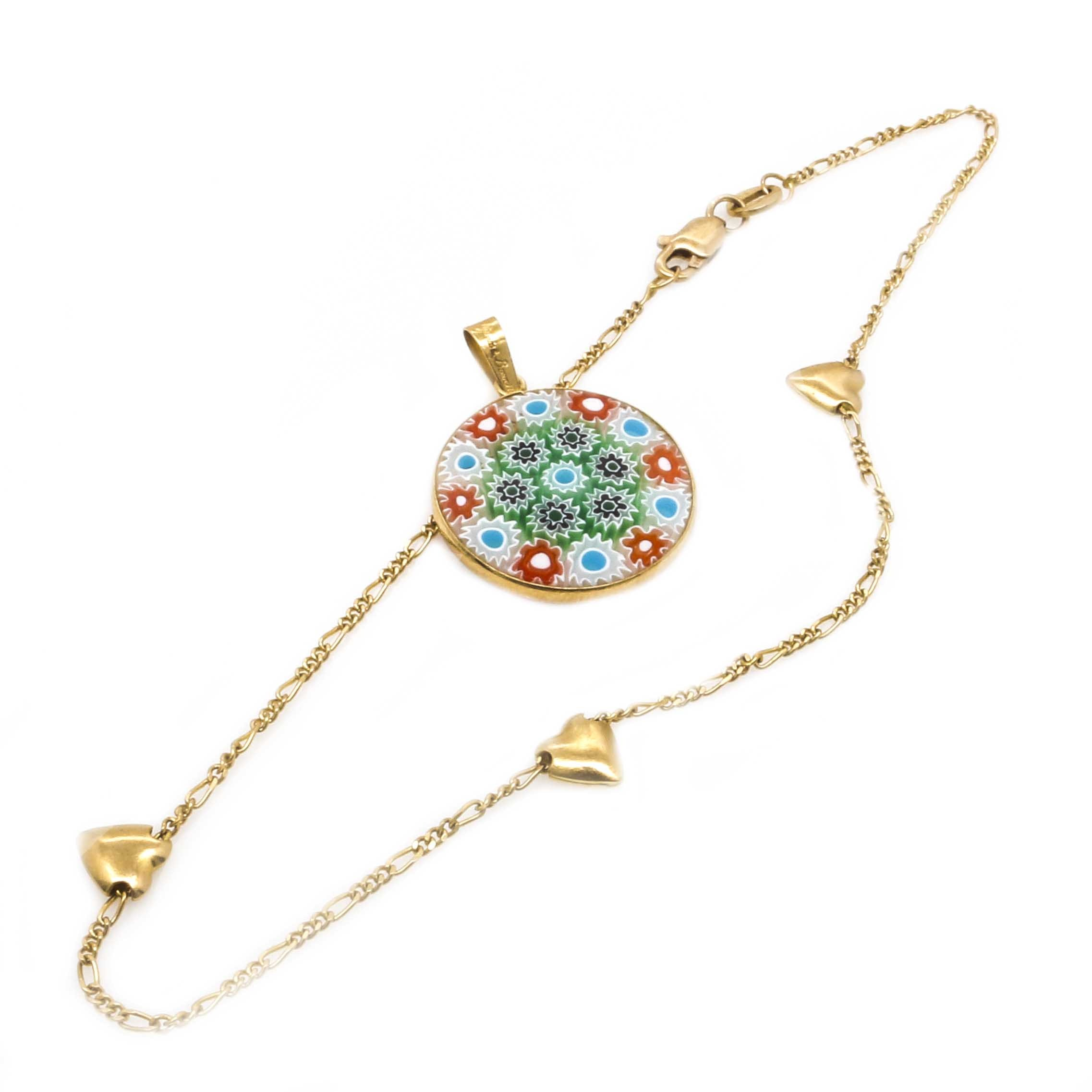 18K Yellow Gold Millefiori Glass Pendant and 14K Yellow Gold Heart Station Anklet